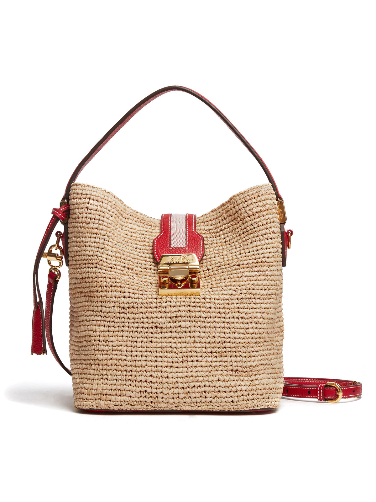 Mark Cross Murphy Raffia & Leather Bucket Bag Tumbled Grain Mc Red / Birdseye / Natural Raffia Front