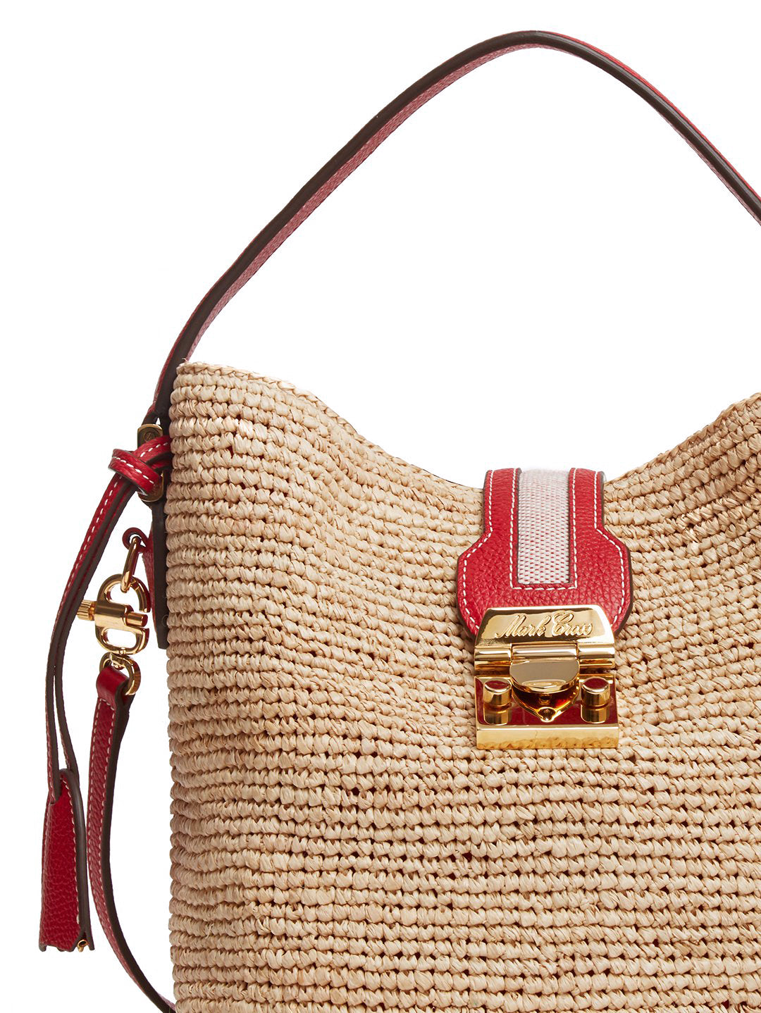 Mark Cross Murphy Raffia & Leather Bucket Bag Tumbled Grain Mc Red / Birdseye / Natural Raffia Detail