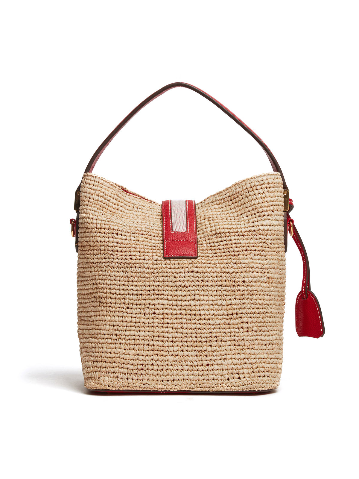 Mark Cross Murphy Raffia & Leather Bucket Bag Tumbled Grain Mc Red / Birdseye / Natural Raffia Back