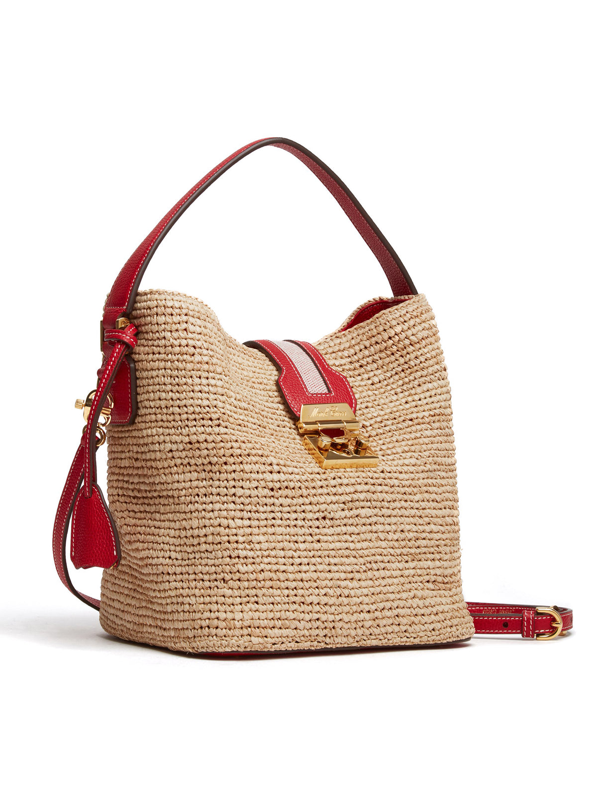Mark Cross Murphy Raffia & Leather Bucket Bag Tumbled Grain Mc Red / Birdseye / Natural Raffia Side