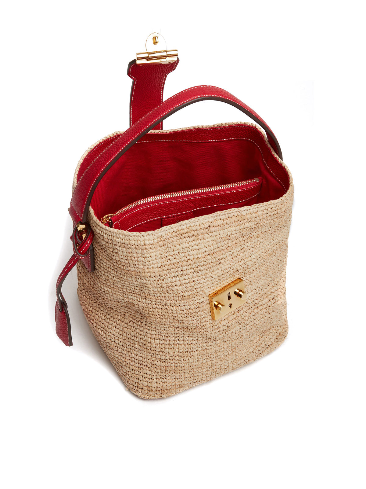 Mark Cross Murphy Raffia & Leather Bucket Bag Tumbled Grain Mc Red / Birdseye / Natural Raffia Interior