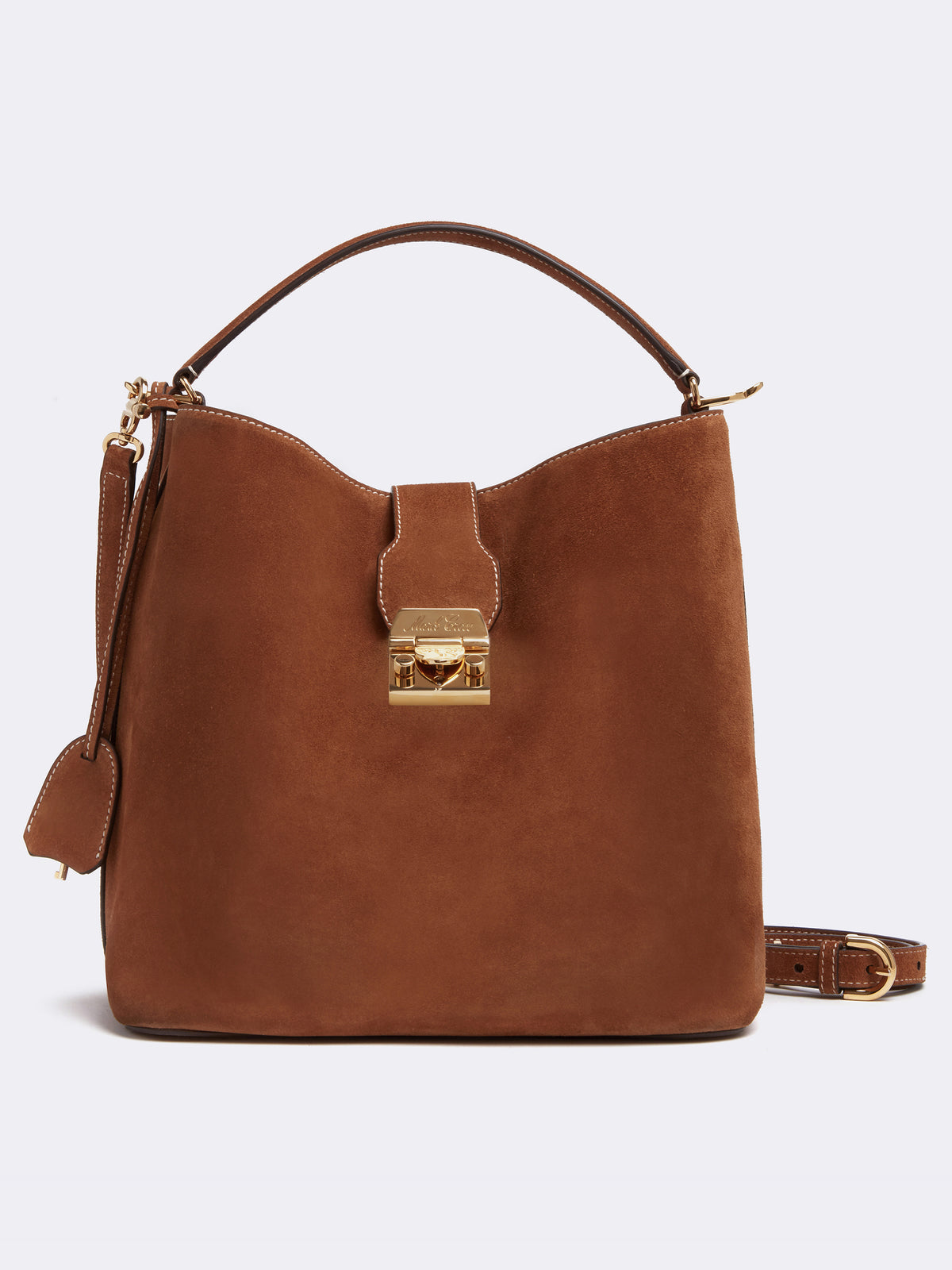Mark Cross Murphy Large Suede Bucket Bag Suede Acorn Front