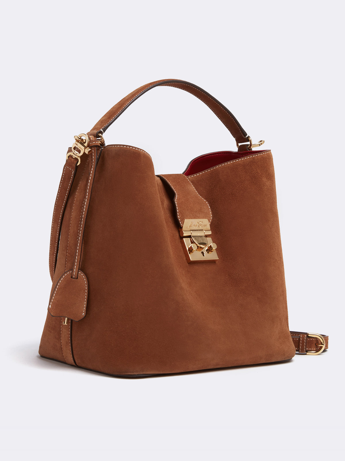 Mark Cross Murphy Large Suede Bucket Bag Suede Acorn Side