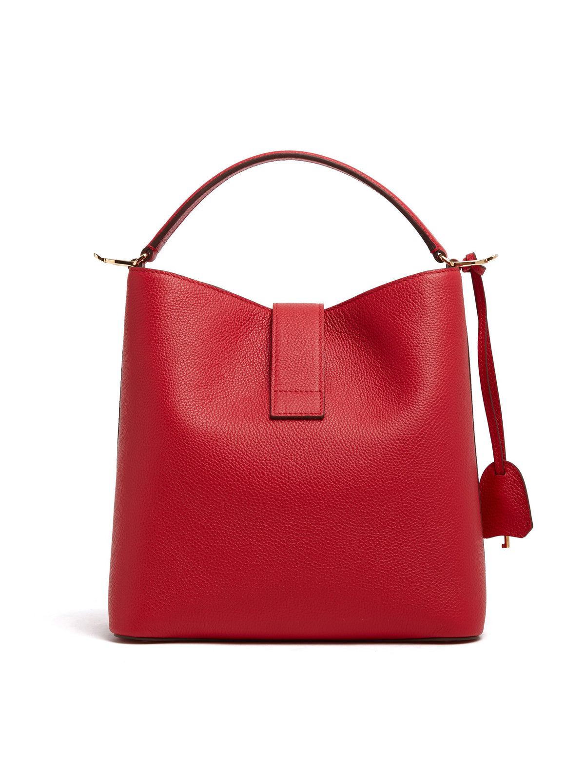 Mark Cross Murphy Large Leather Bucket Bag Tumbled Grain MC Red Back