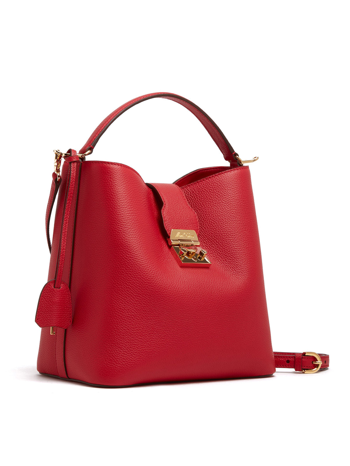 Mark Cross Murphy Large Leather Bucket Bag Tumbled Grain MC Red Side