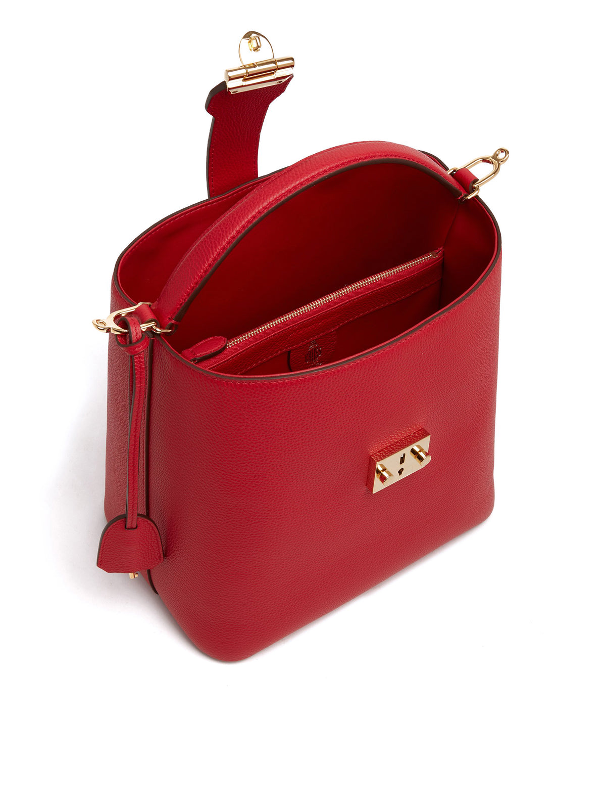 Mark Cross Murphy Large Leather Bucket Bag Tumbled Grain MC Red Interior
