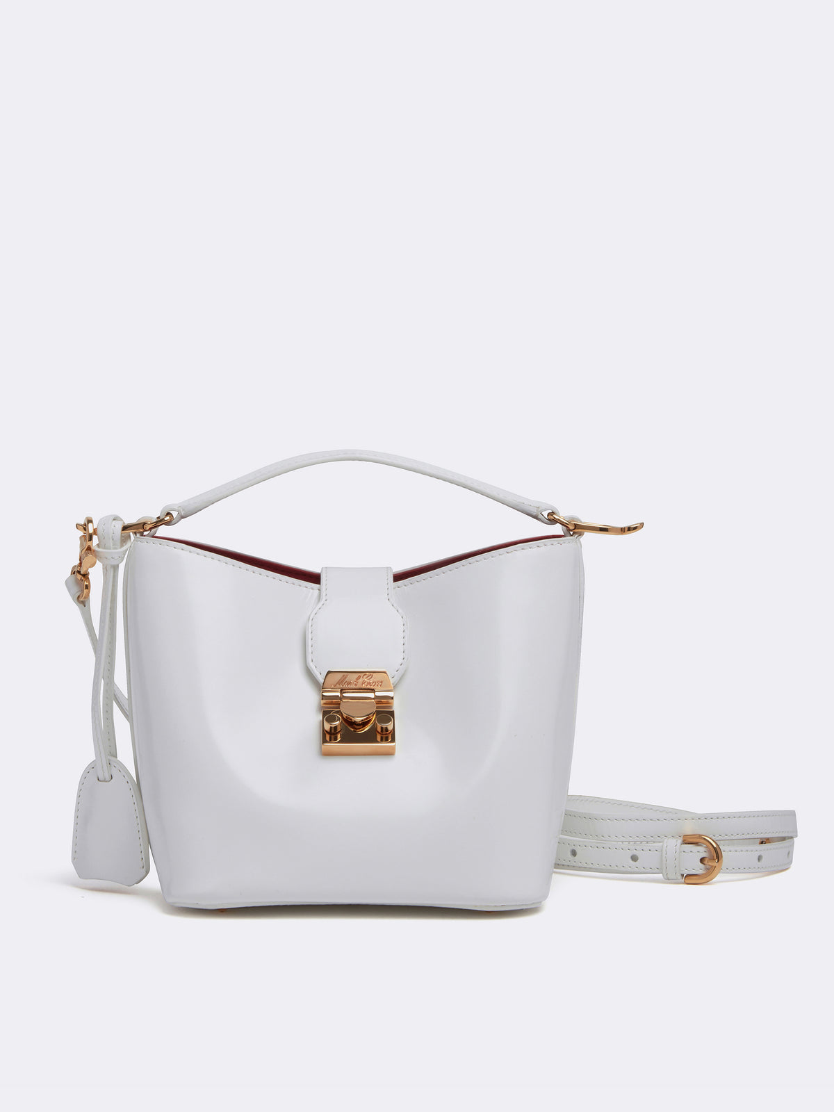 Mark Cross Murphy Mini Leather Bucket Bag Brush Off White Front