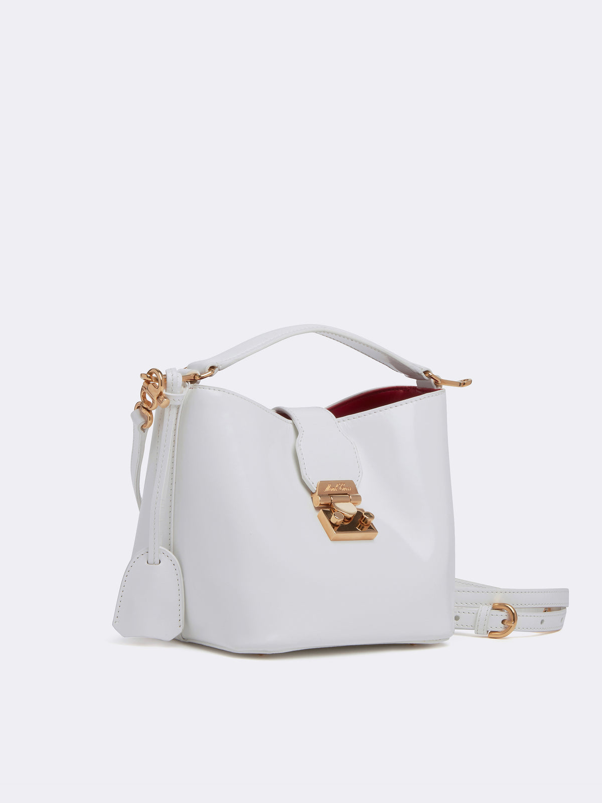 Mark Cross Murphy Mini Leather Bucket Bag Brush Off White Side