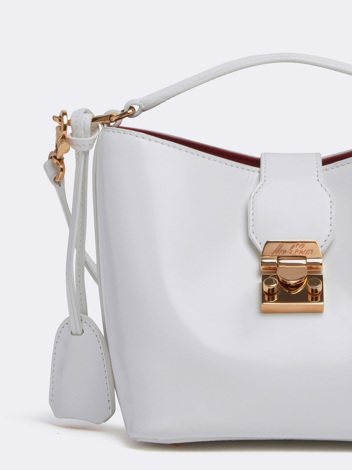 Mark Cross Murphy Mini Leather Bucket Bag Brush Off White Detail