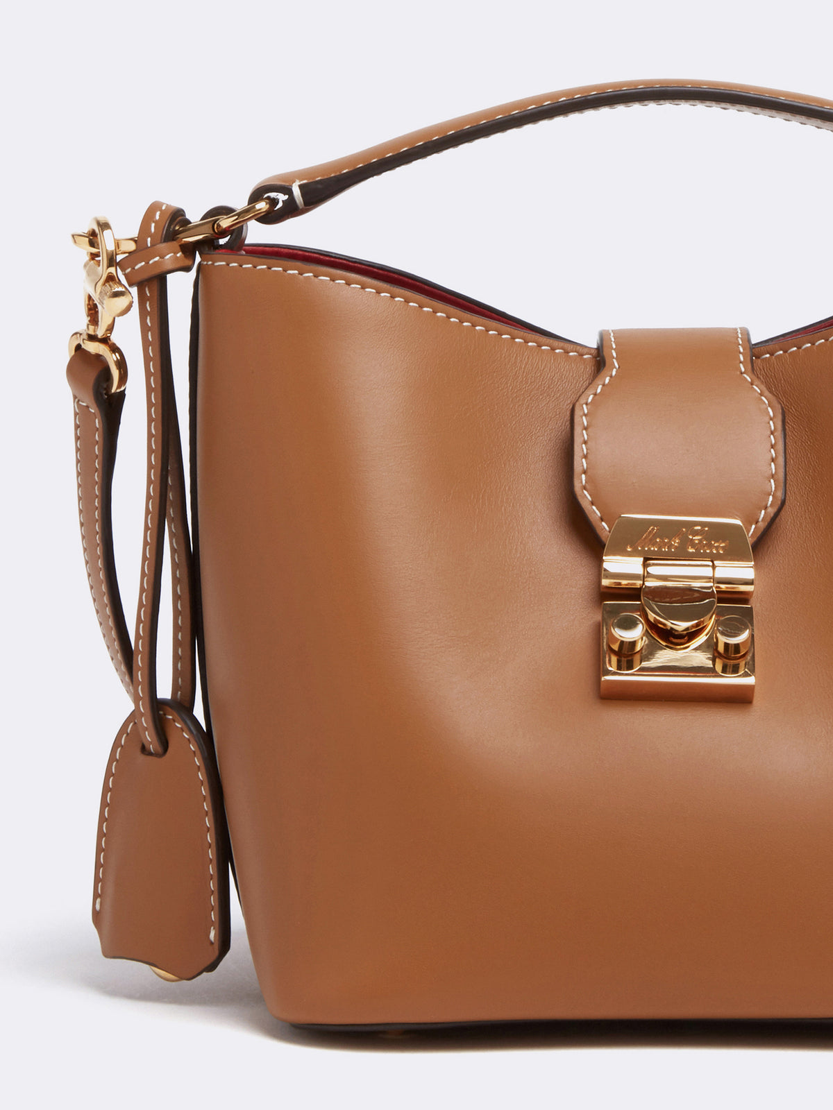 Mark Cross Murphy Mini Leather Bucket Bag Smooth Calf Luggage Detail