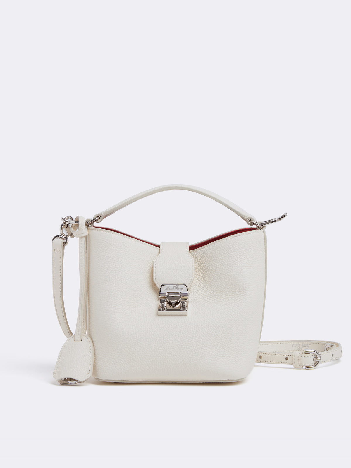 Mark Cross Murphy Mini Leather Bucket Bag Tumbled Grain Winter White Front