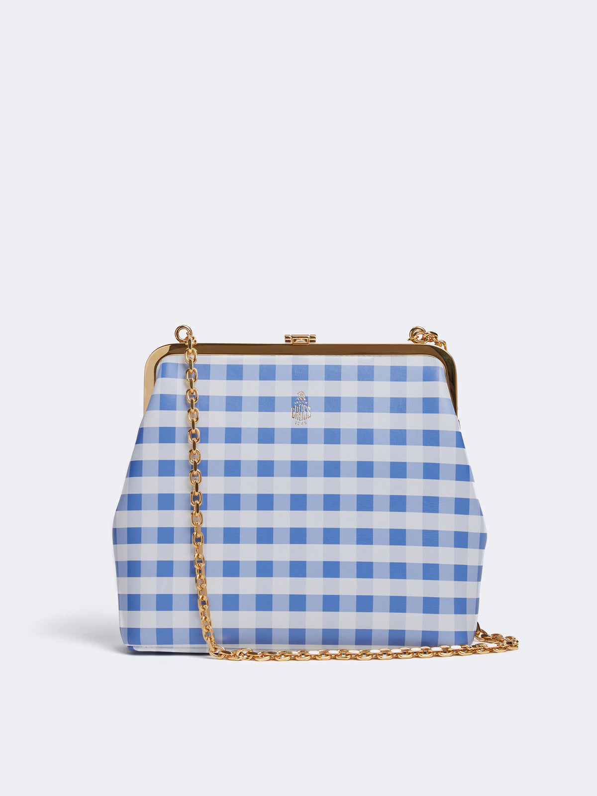 Mark Cross Susanna Leather Frame Pouch Bag Nappa Gingham Regatta Blue Front