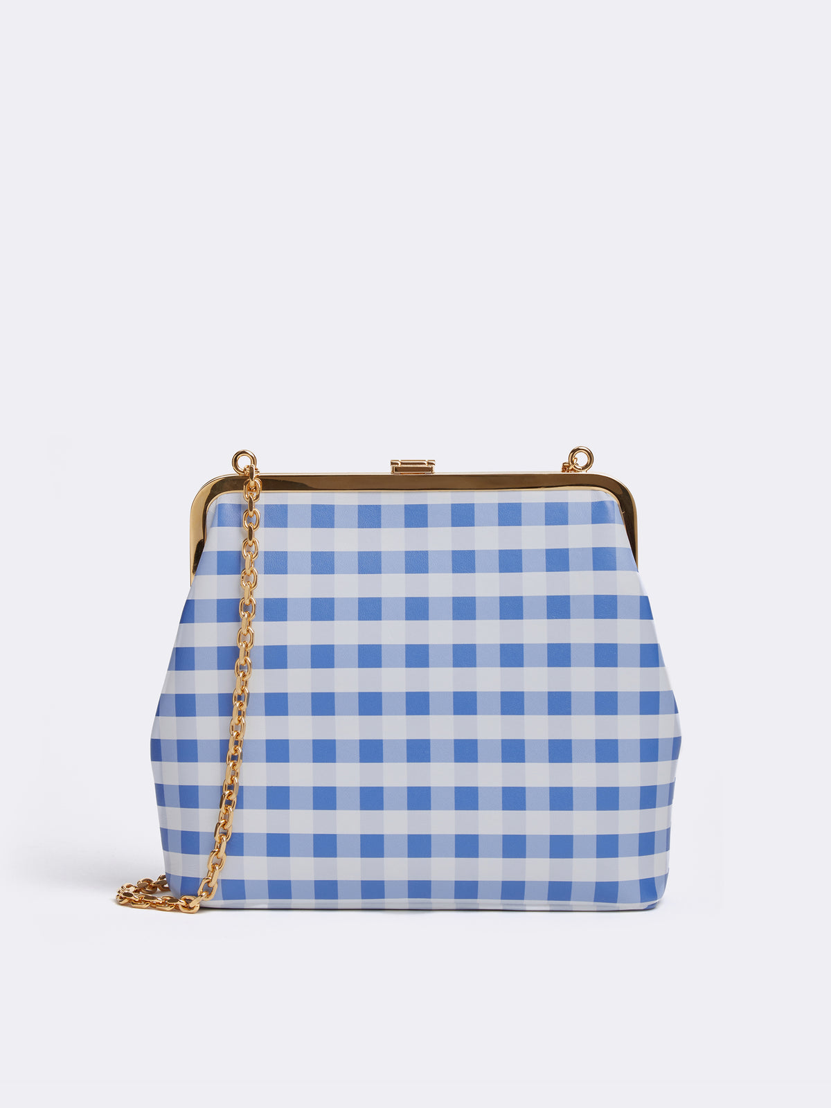 Mark Cross Susanna Leather Frame Pouch Bag Nappa Gingham Regatta Blue Back