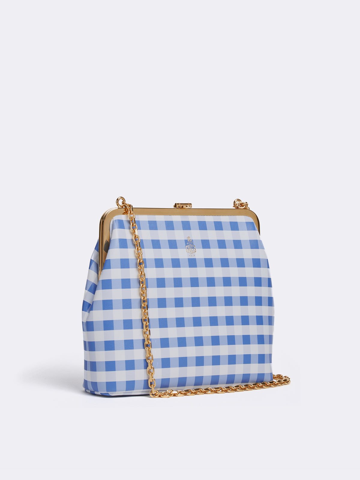 Mark Cross Susanna Leather Frame Pouch Bag Nappa Gingham Regatta Blue Side