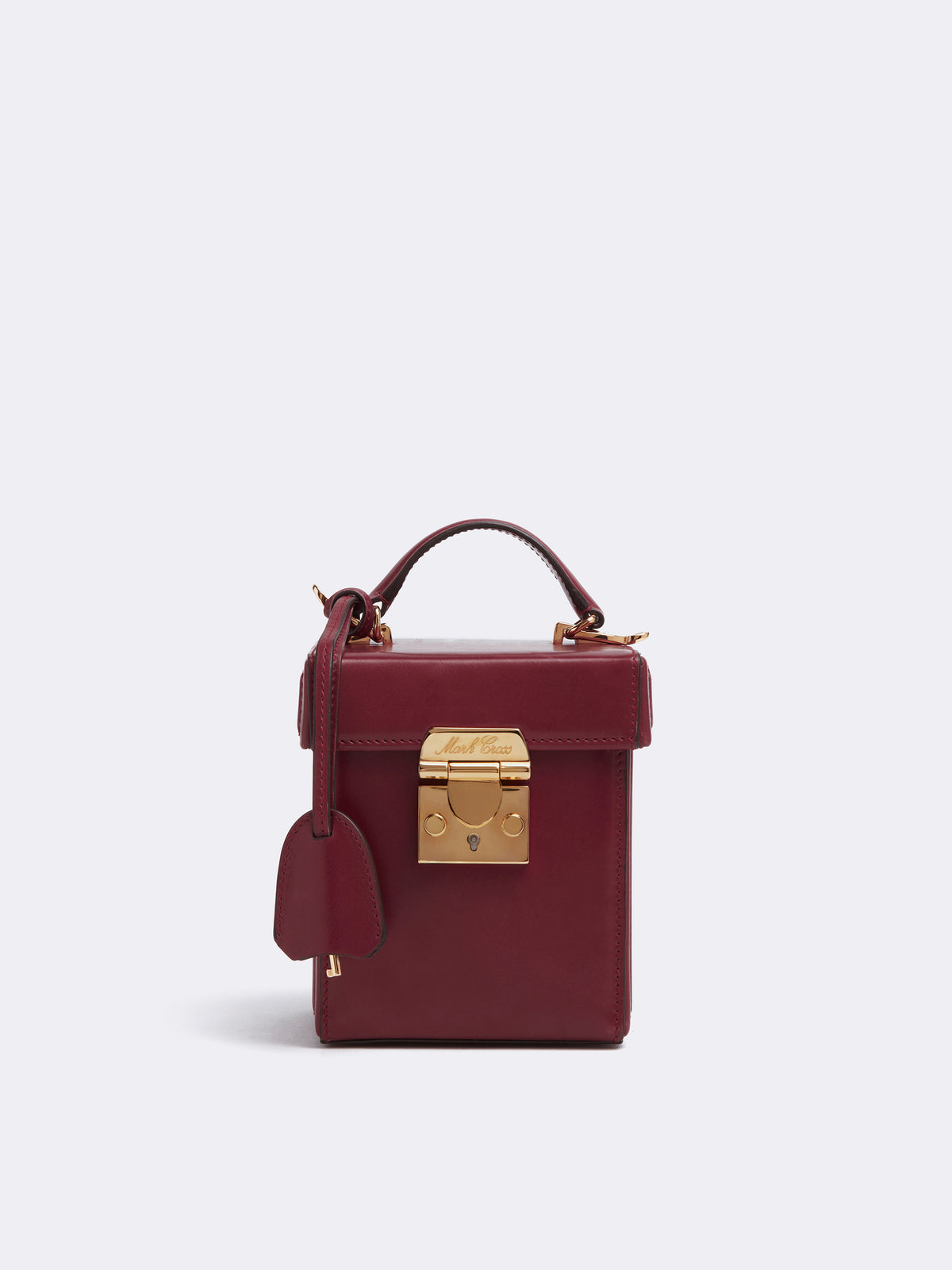 Mark Cross Grace Cube Leather Box Bag Smooth Calf Burgundy Front