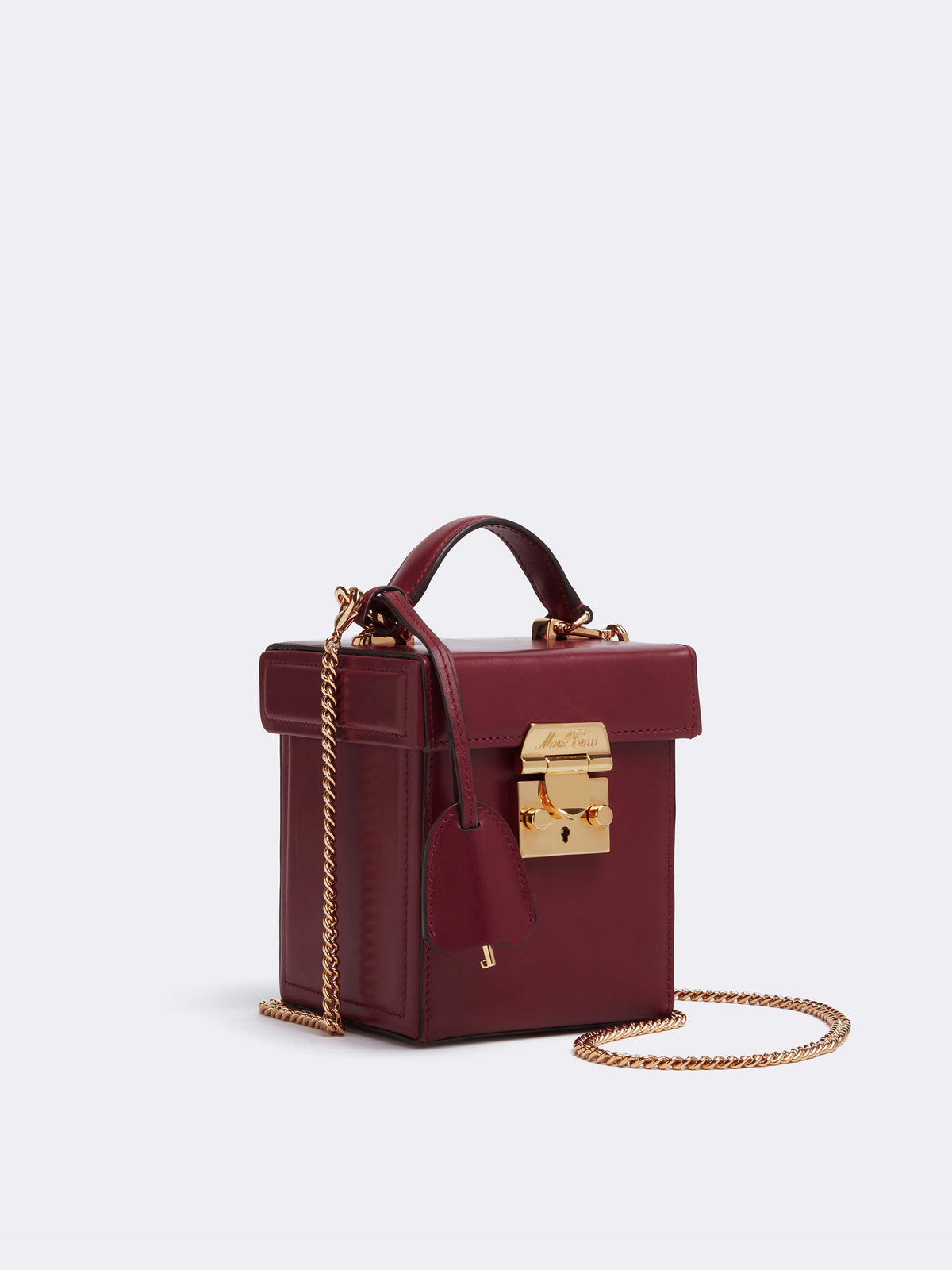Mark Cross Grace Cube Leather Box Bag Smooth Calf Burgundy Side