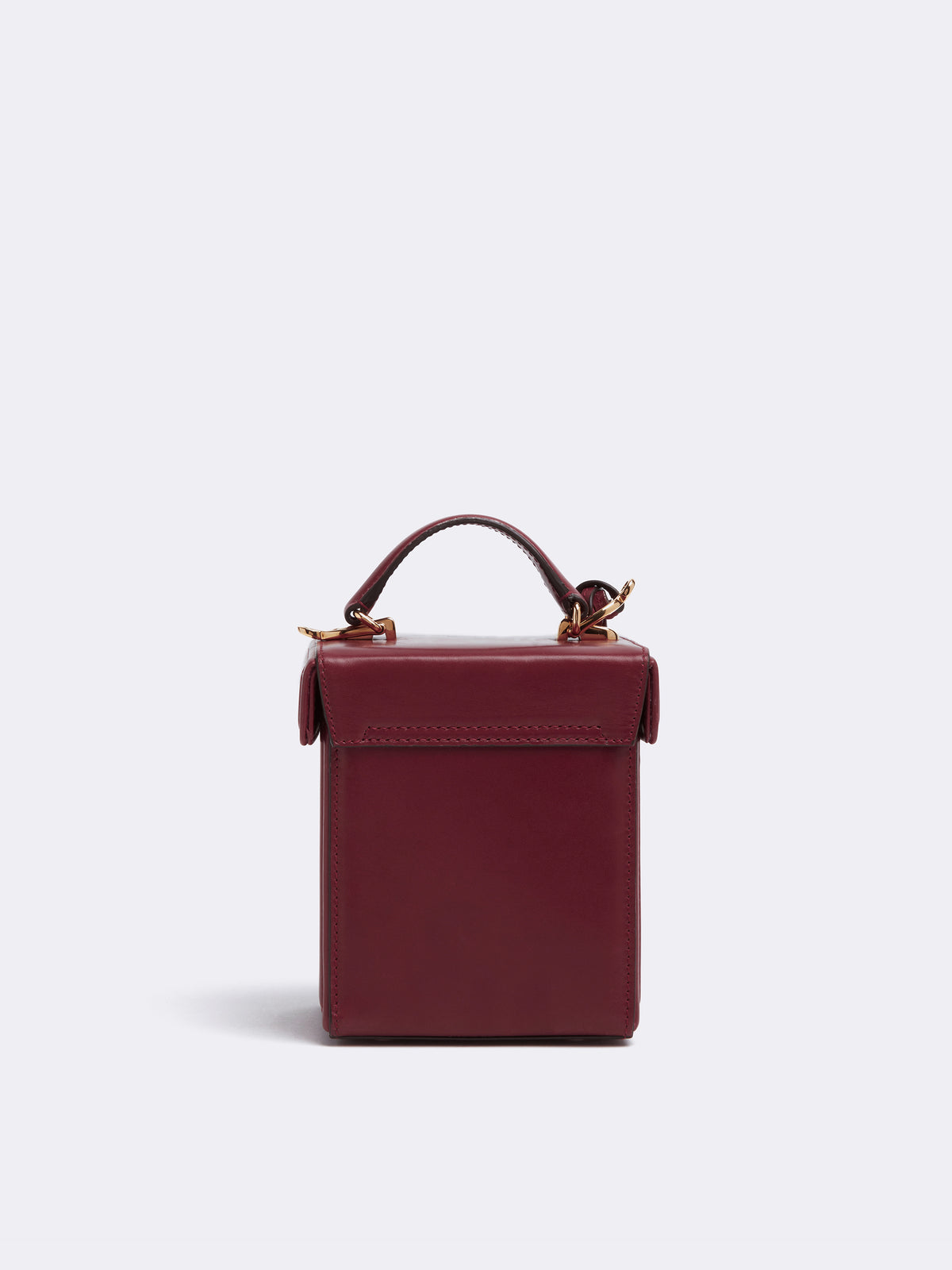 Mark Cross Grace Cube Leather Box Bag Smooth Calf Burgundy Back