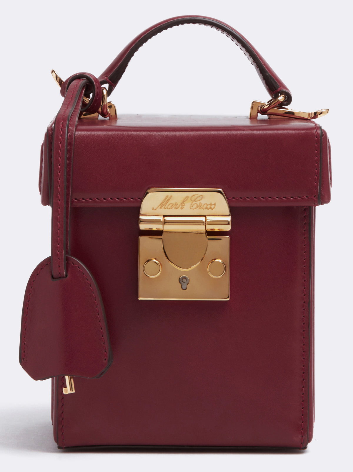 Mark Cross Grace Cube Leather Box Bag Smooth Calf Burgundy Detail