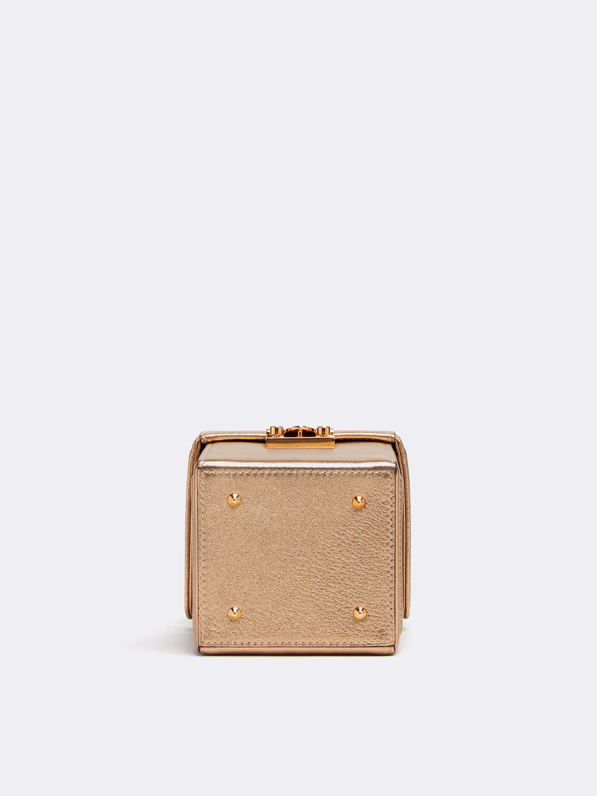 Mark Cross Grace Cube Leather Box Bag Metallic Nappa Gold Side