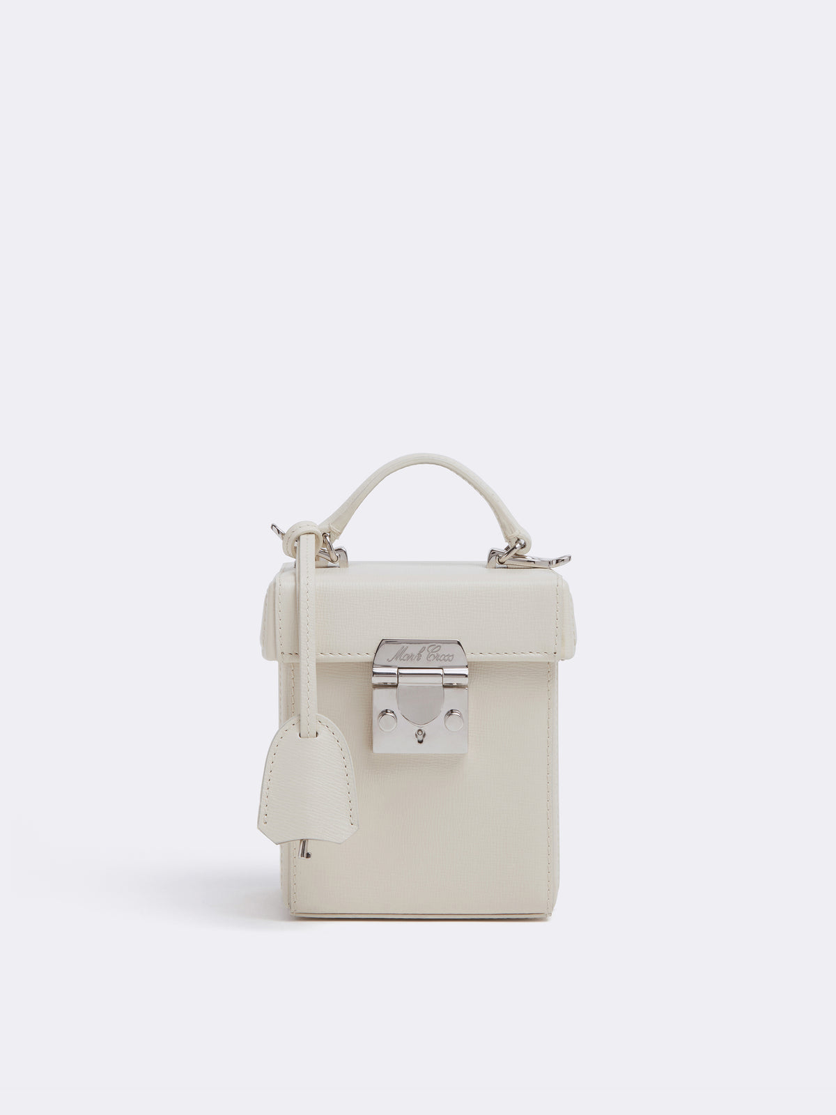 Mark Cross Grace Cube Leather Box Bag Mini Franzi Winter White Front