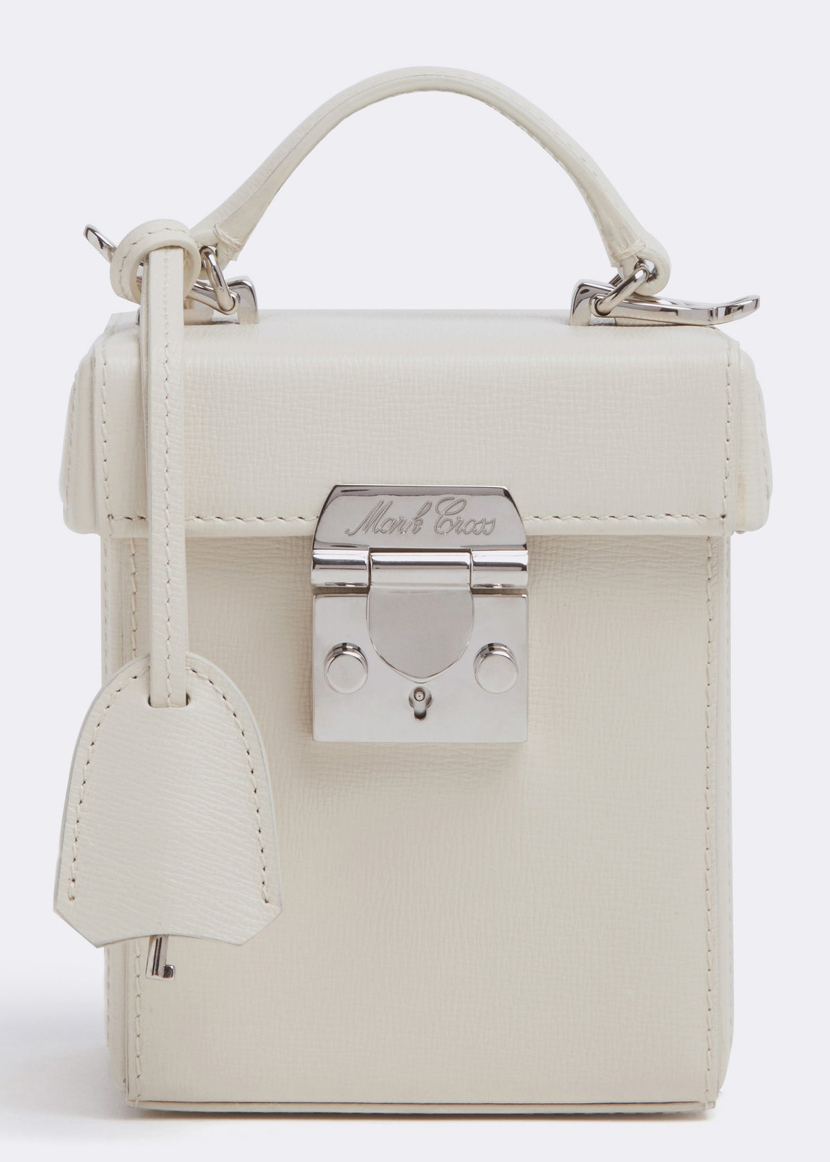 Mark Cross Grace Cube Leather Box Bag Mini Franzi Winter White Detail