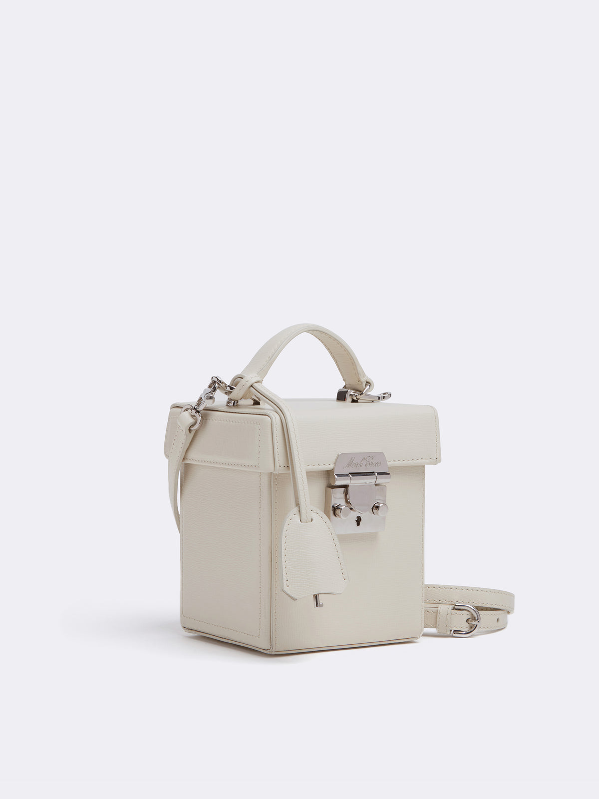 Mark Cross Grace Cube Leather Box Bag Mini Franzi Winter White Side