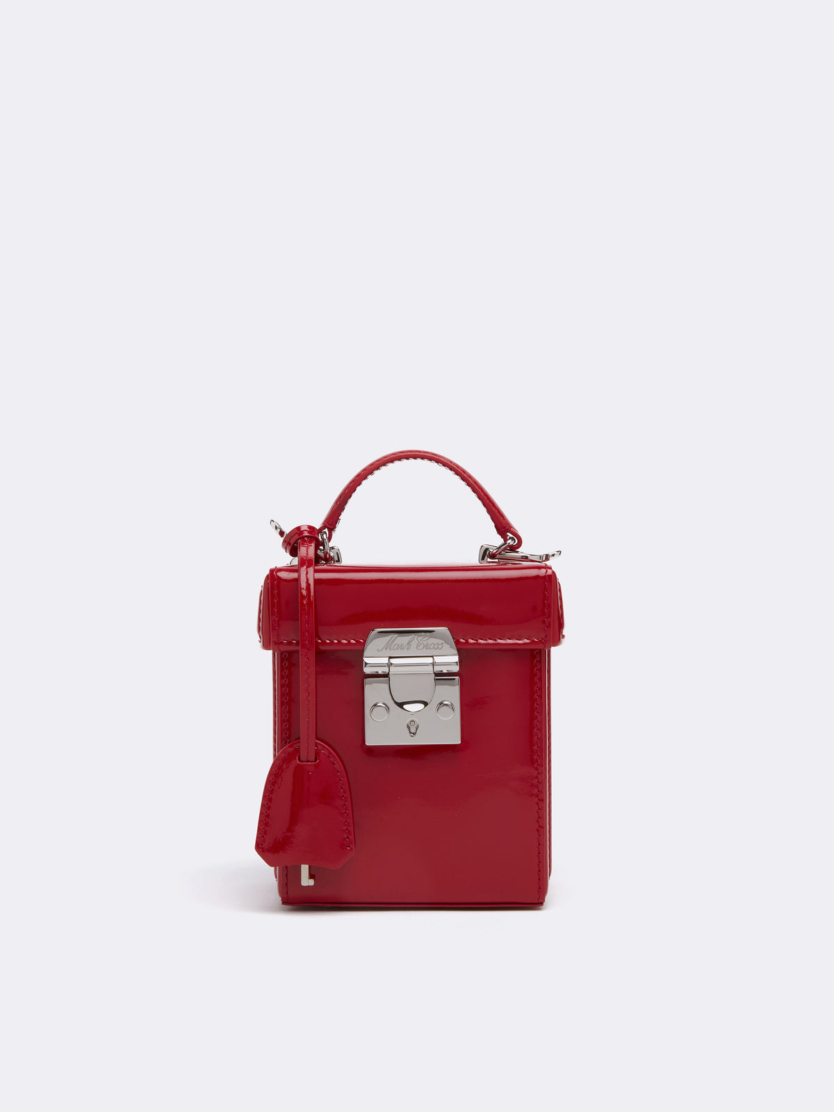 Mark Cross Grace Cube Leather Box Bag Soft Patent Red Front