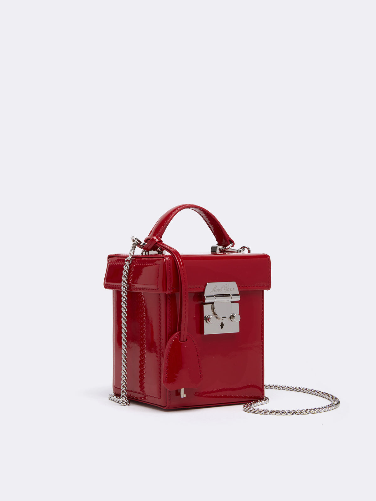 Mark Cross Grace Cube Leather Box Bag Soft Patent Red Side