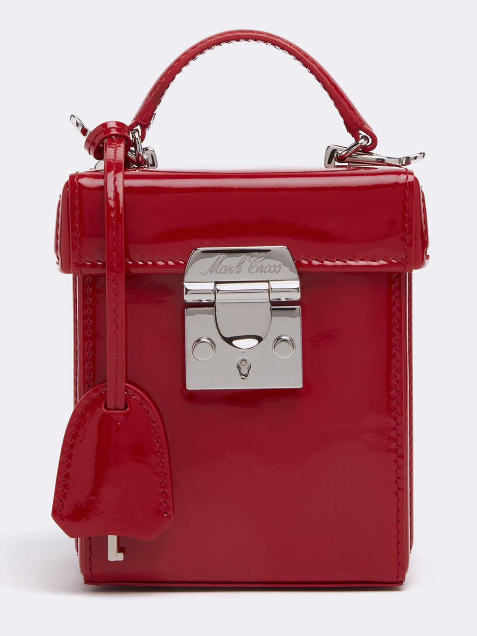 Mark Cross Grace Cube Leather Box Bag Soft Patent Red Detail