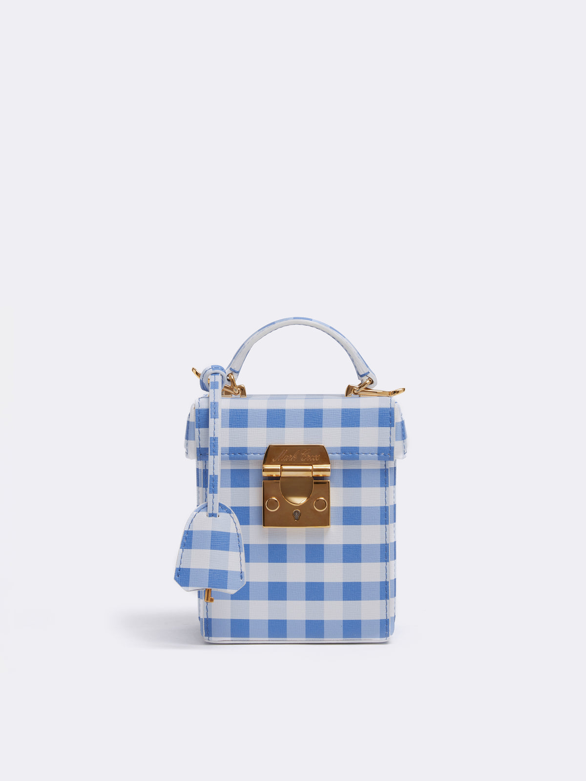 Mark Cross Grace Cube Leather Box Bag Mini Franzi Gingham Regatta Blue Front