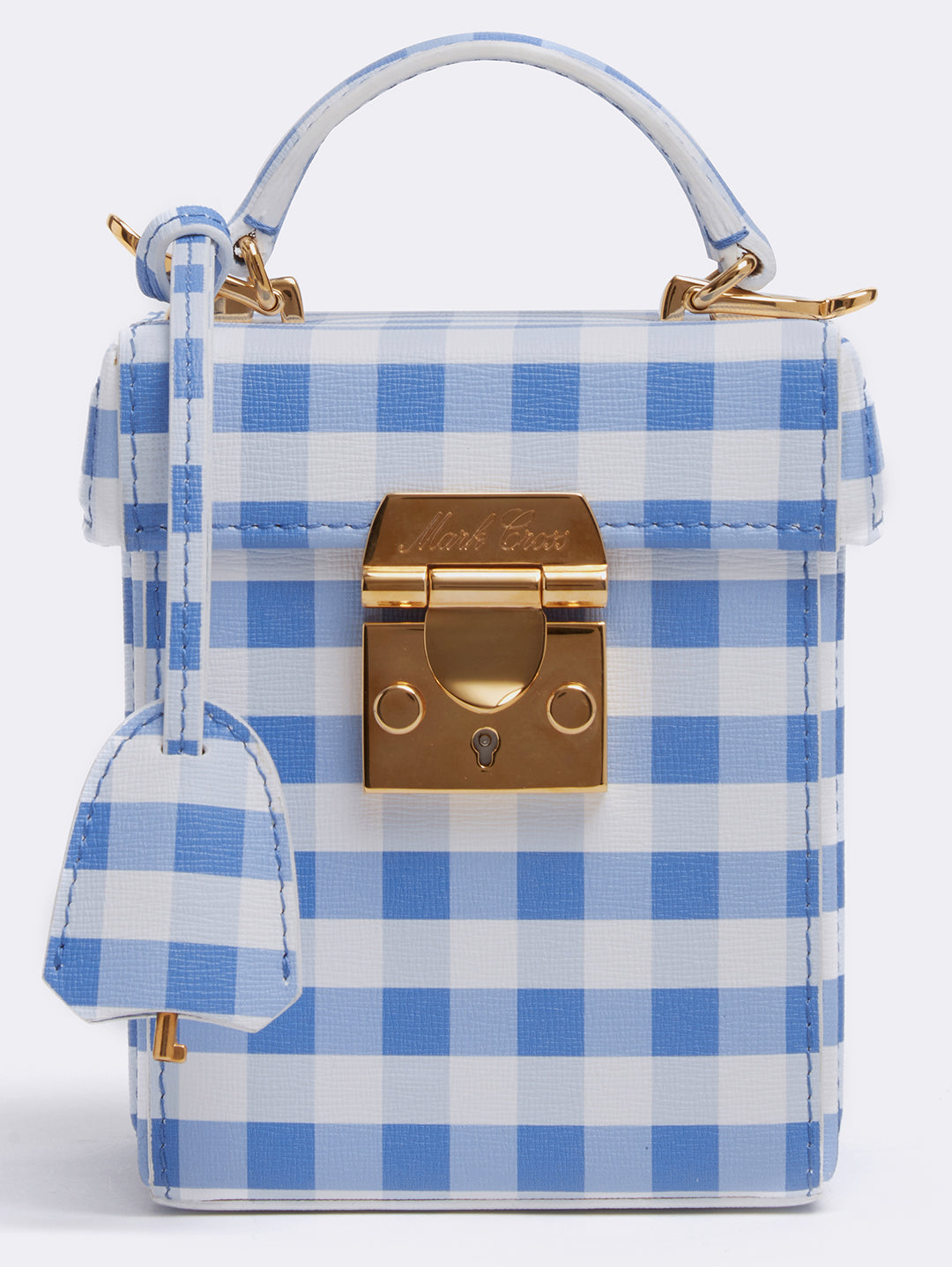 Mark Cross Grace Cube Leather Box Bag Mini Franzi Gingham Regatta Blue Detail