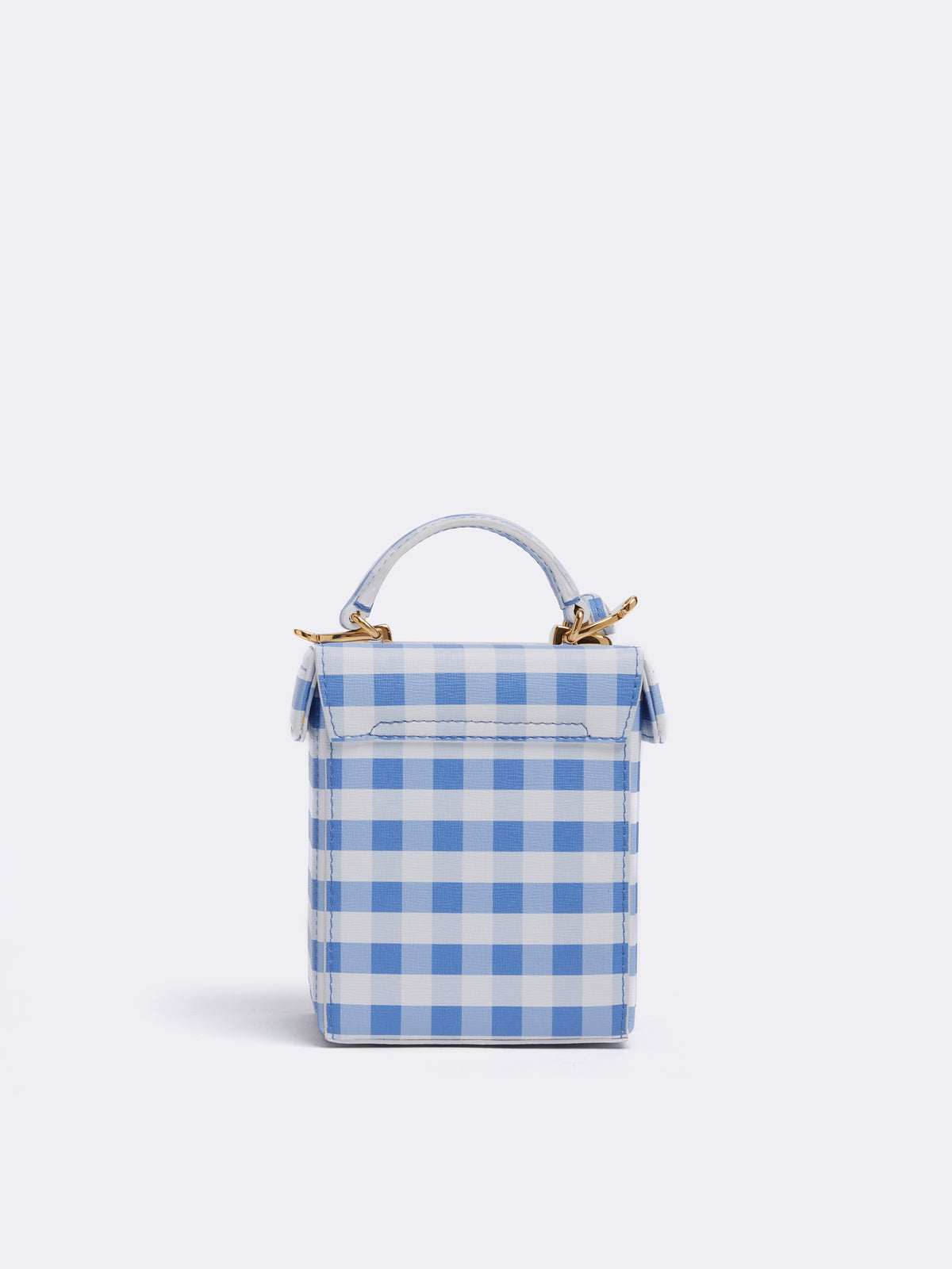 Mark Cross Grace Cube Leather Box Bag Mini Franzi Gingham Regatta Blue Back
