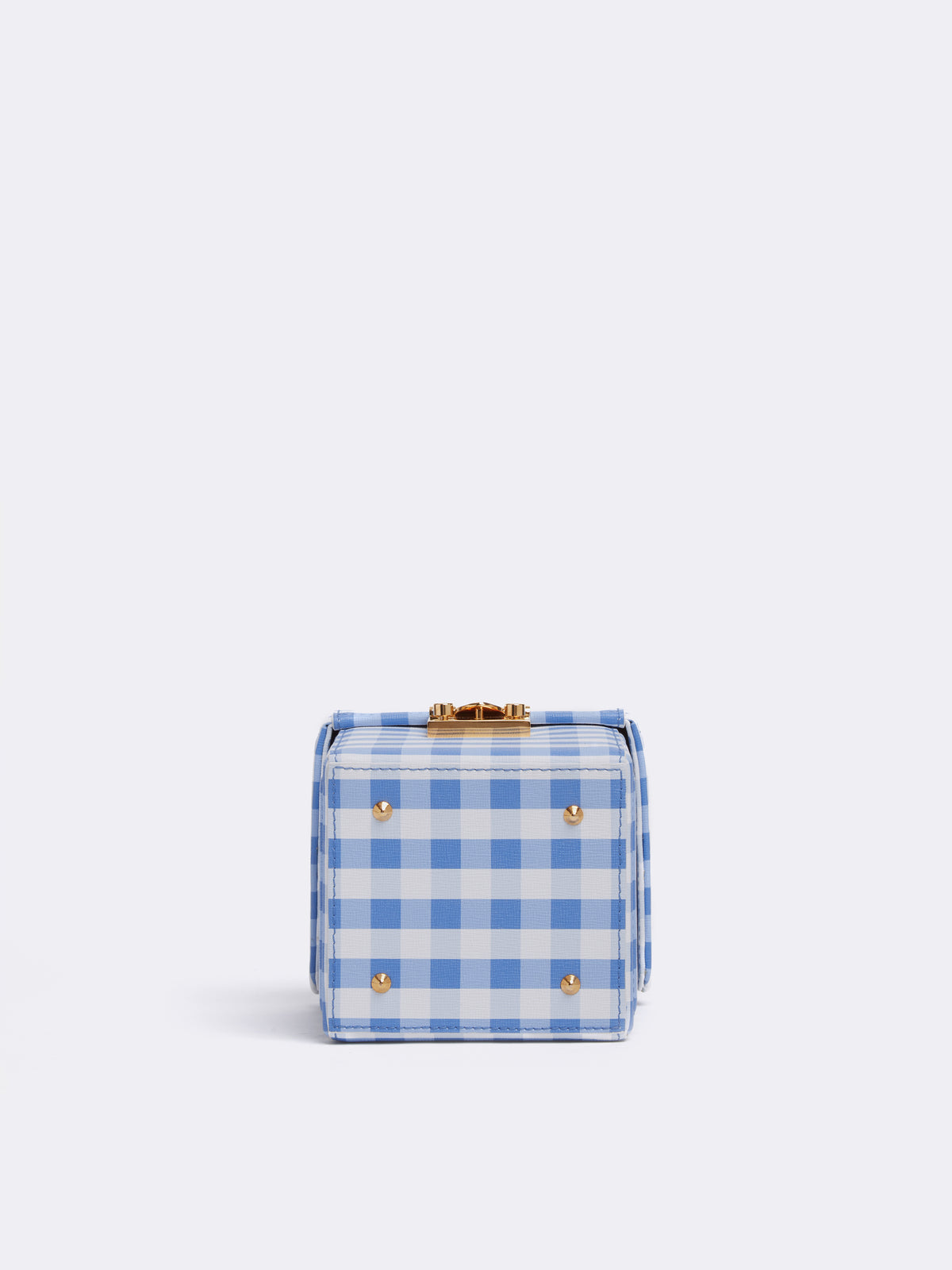 Mark Cross Grace Cube Leather Box Bag Mini Franzi Gingham Regatta Blue Side