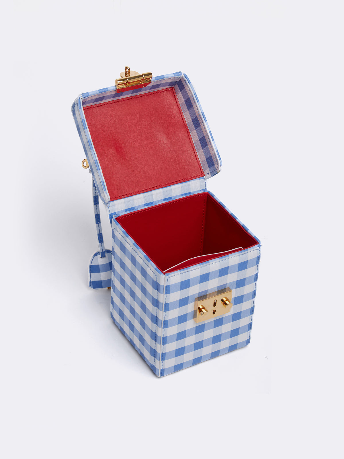 Mark Cross Grace Cube Leather Box Bag Mini Franzi Gingham Regatta Blue Interior