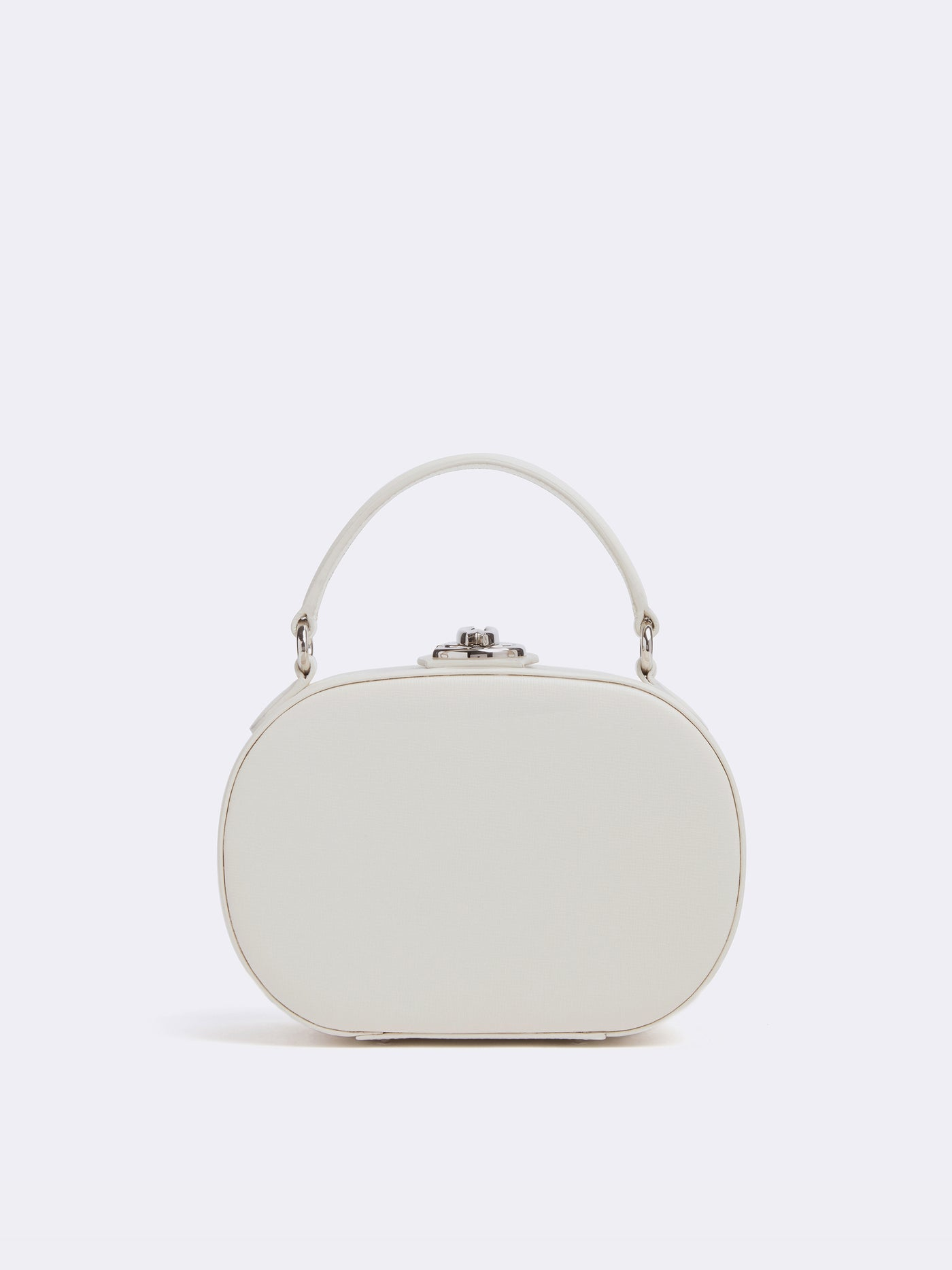 Mark Cross Gianna Leather Oval Box Bag Mini Franzi Winter White Front