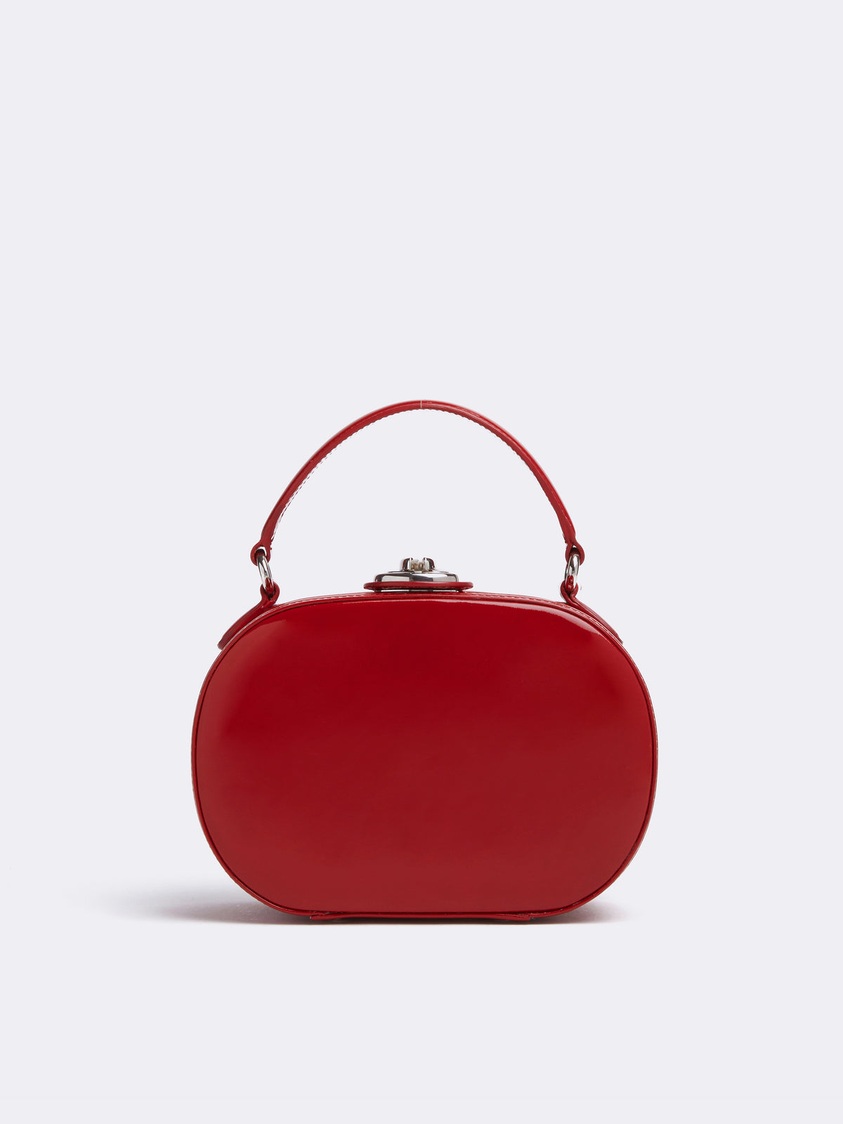 Mark Cross Gianna Leather Oval Box Bag Soft Patent Red Front