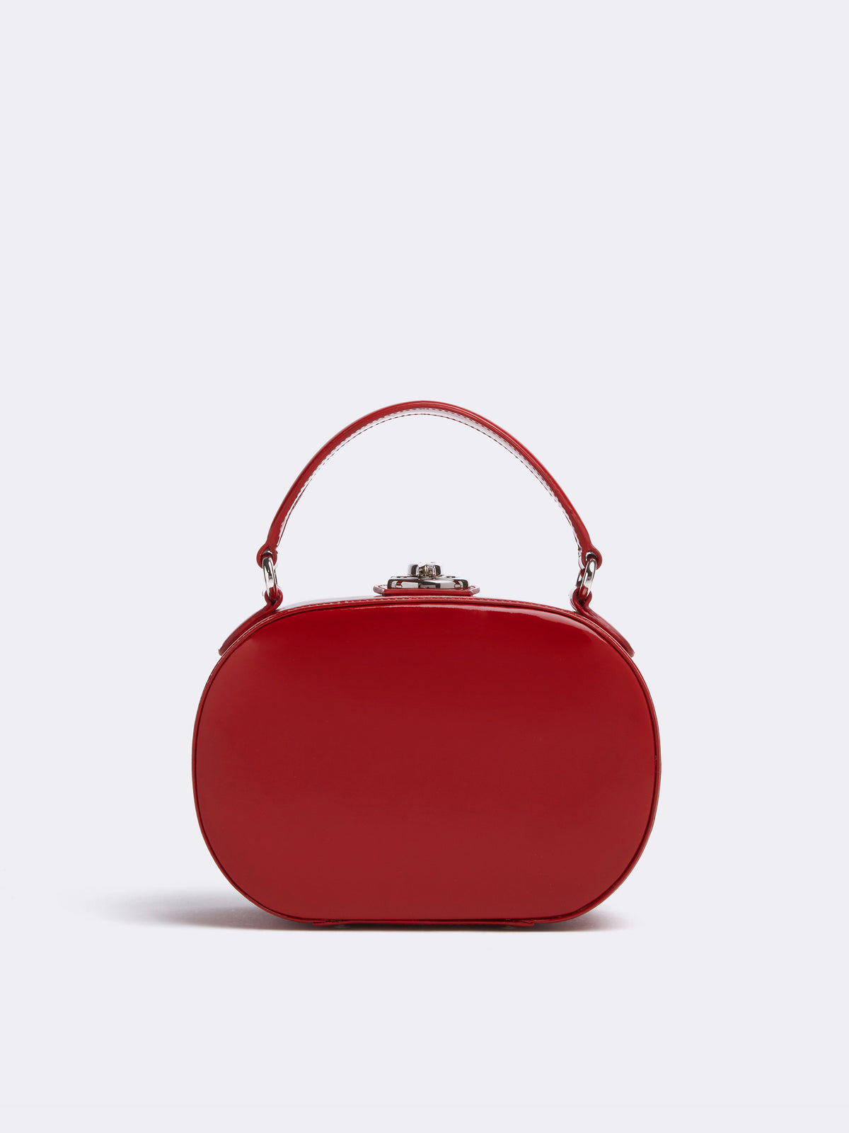 Mark Cross Gianna Leather Oval Box Bag Soft Patent Red Back