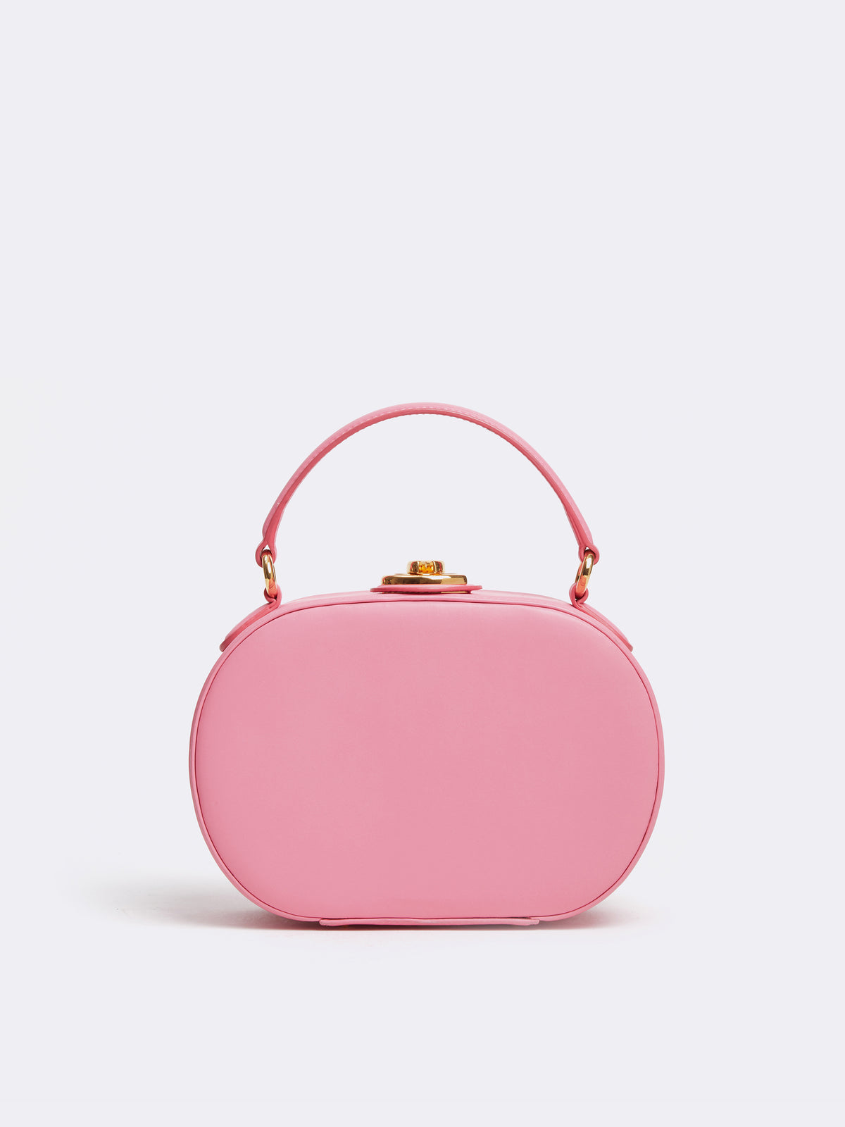 Mark Cross Gianna Leather Oval Box Bag Soft Calf Flamingo Front