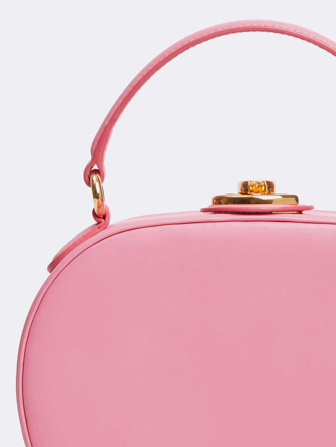 Mark Cross Gianna Leather Oval Box Bag Soft Calf Flamingo Detail
