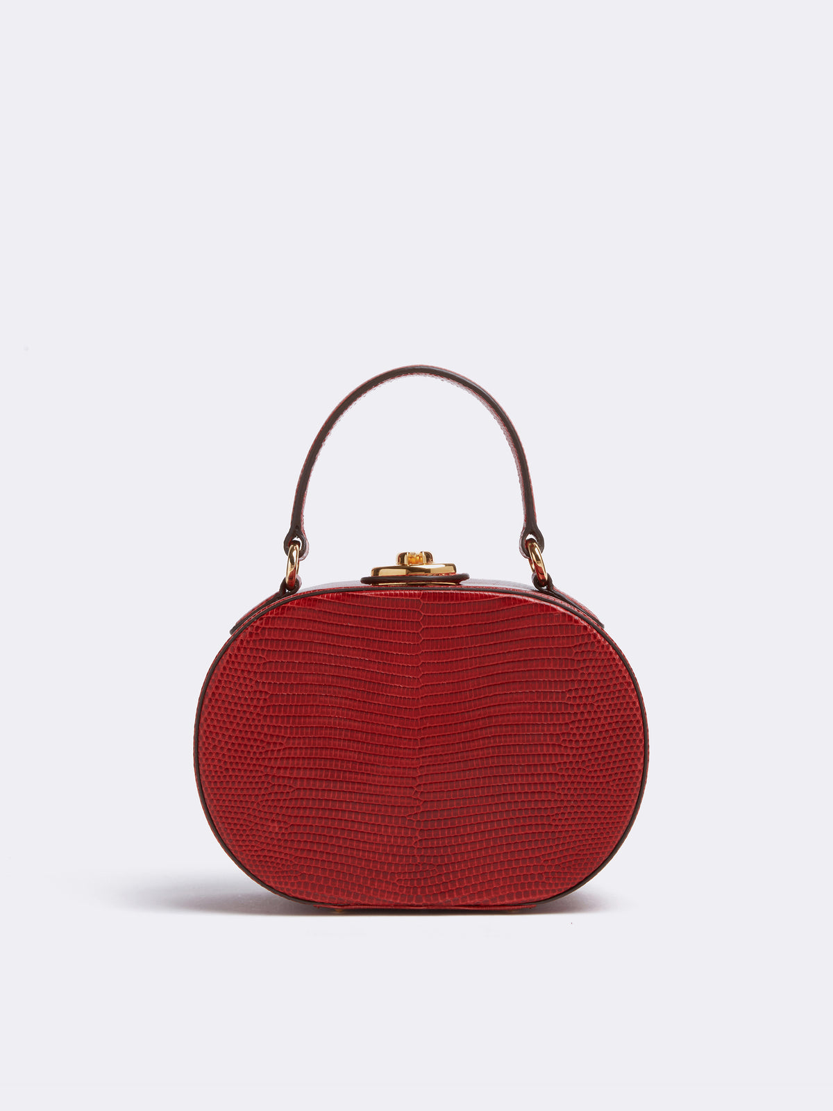 Mark Cross Gianna Leather Oval Box Bag Lizard Claret Front