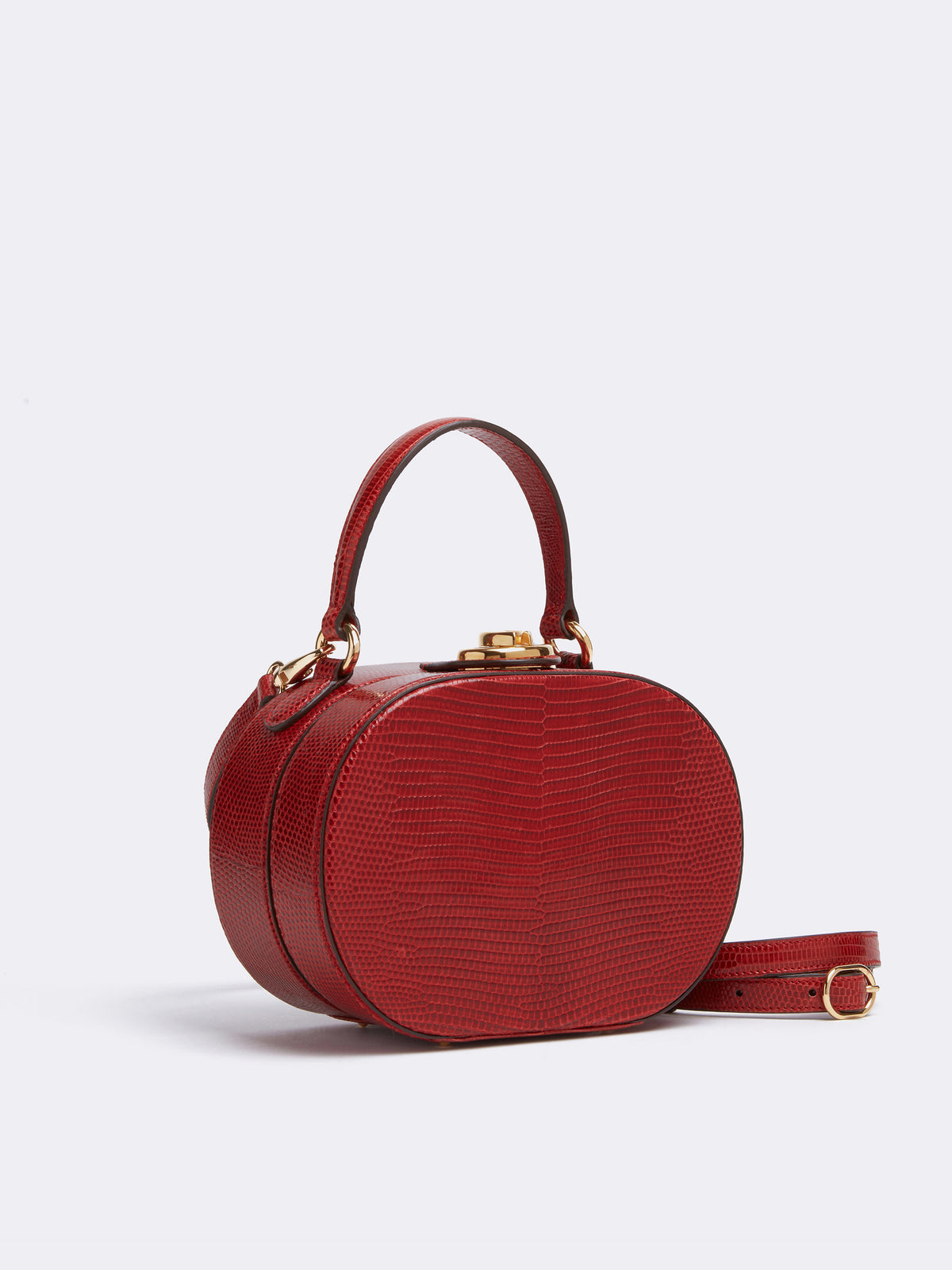 Mark Cross Gianna Leather Oval Box Bag Lizard Claret Side