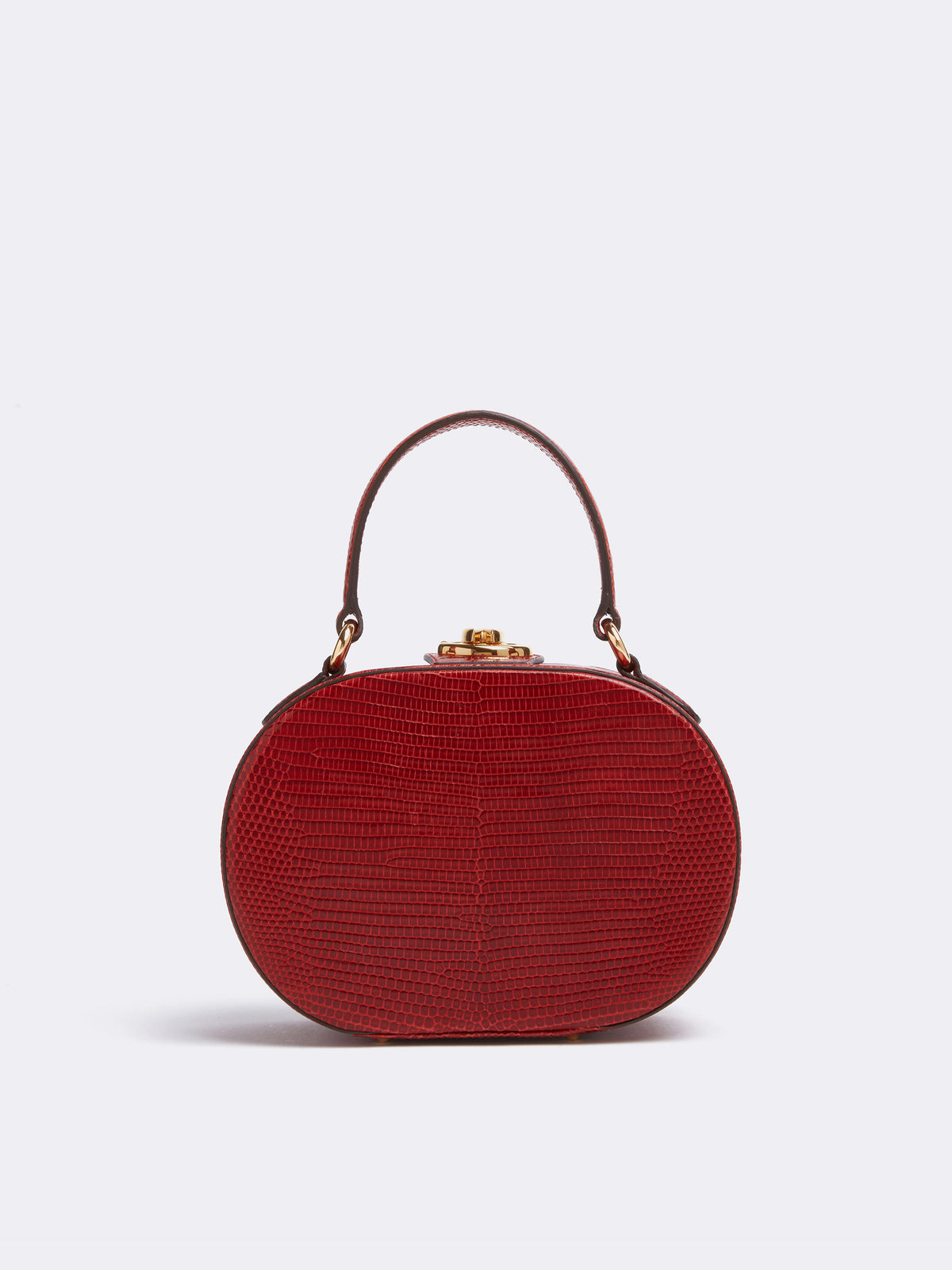 Mark Cross Gianna Leather Oval Box Bag Lizard Claret Back