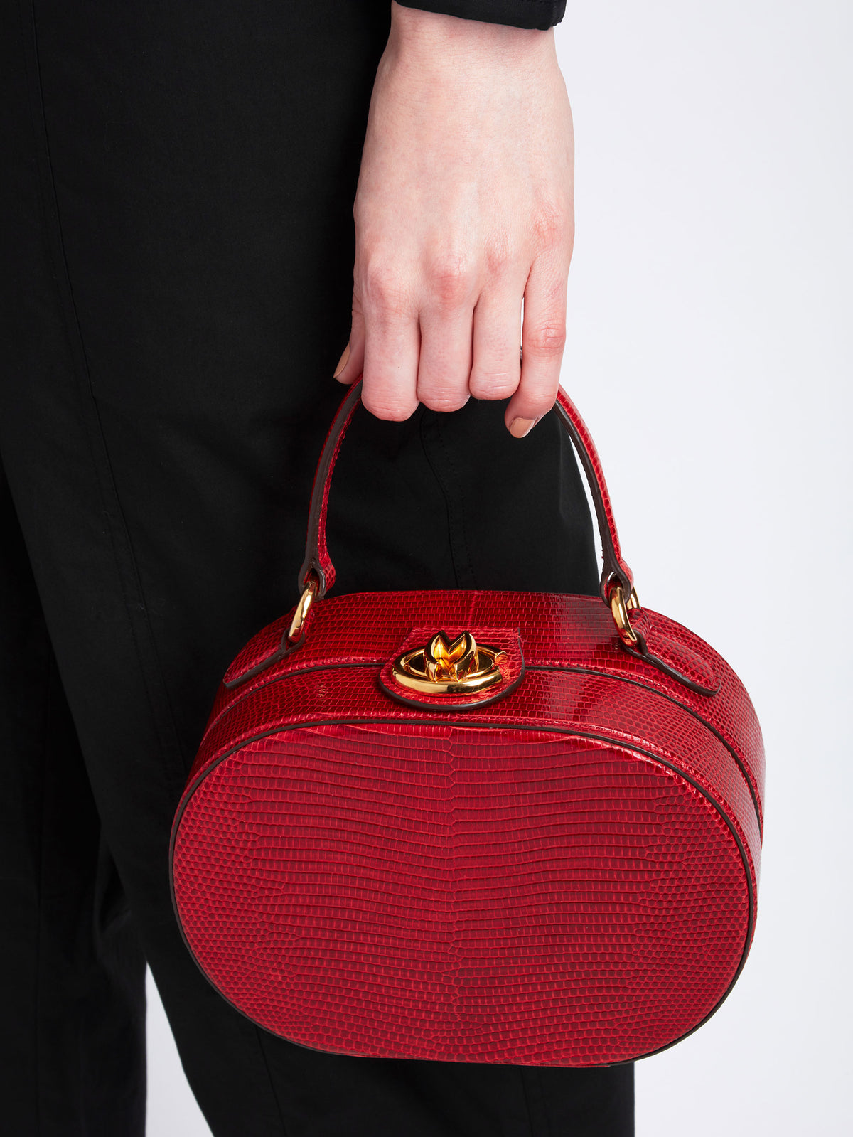 Mark Cross Gianna Leather Oval Box Bag Lizard Claret Model