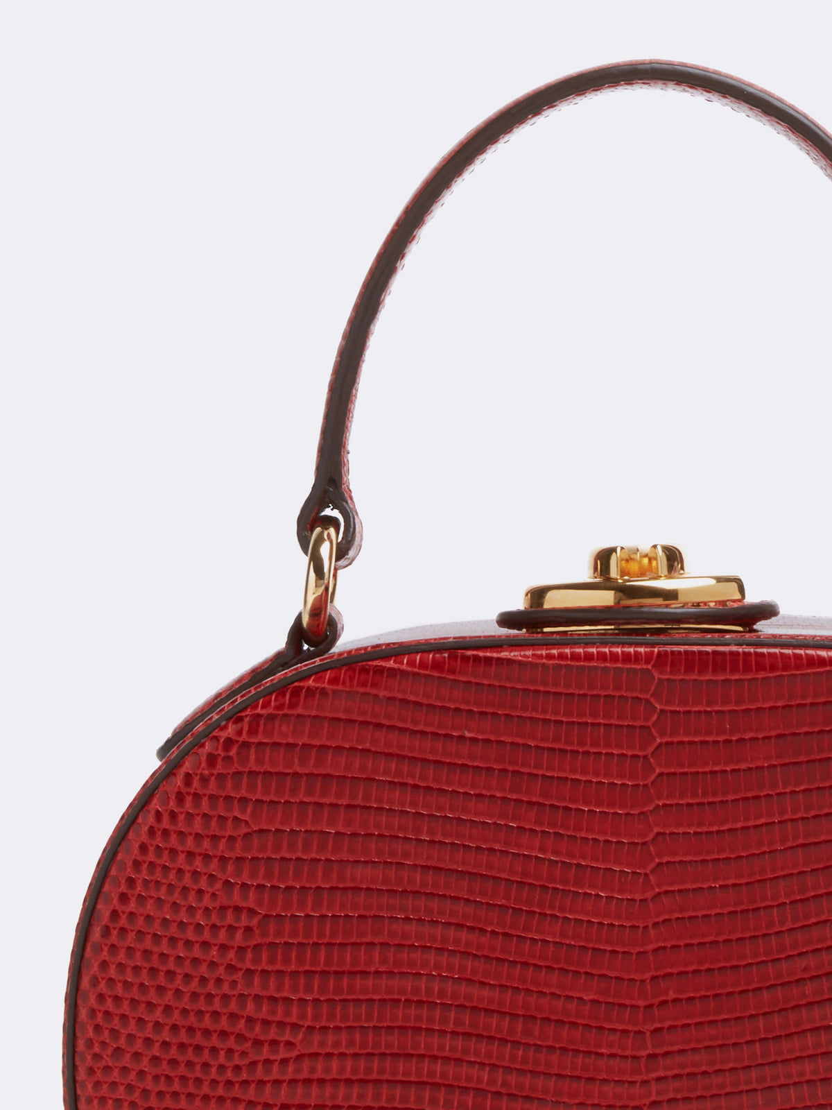 Mark Cross Gianna Leather Oval Box Bag Lizard Claret Detail