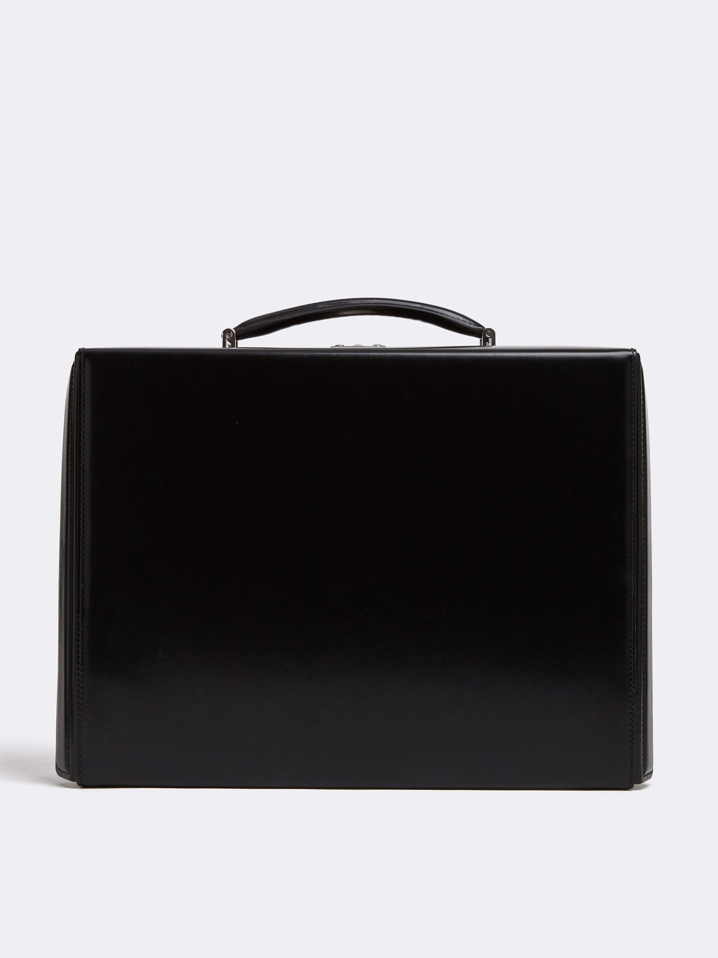 Mark Cross Gerald Leather Briefcase Brush Off Black front
