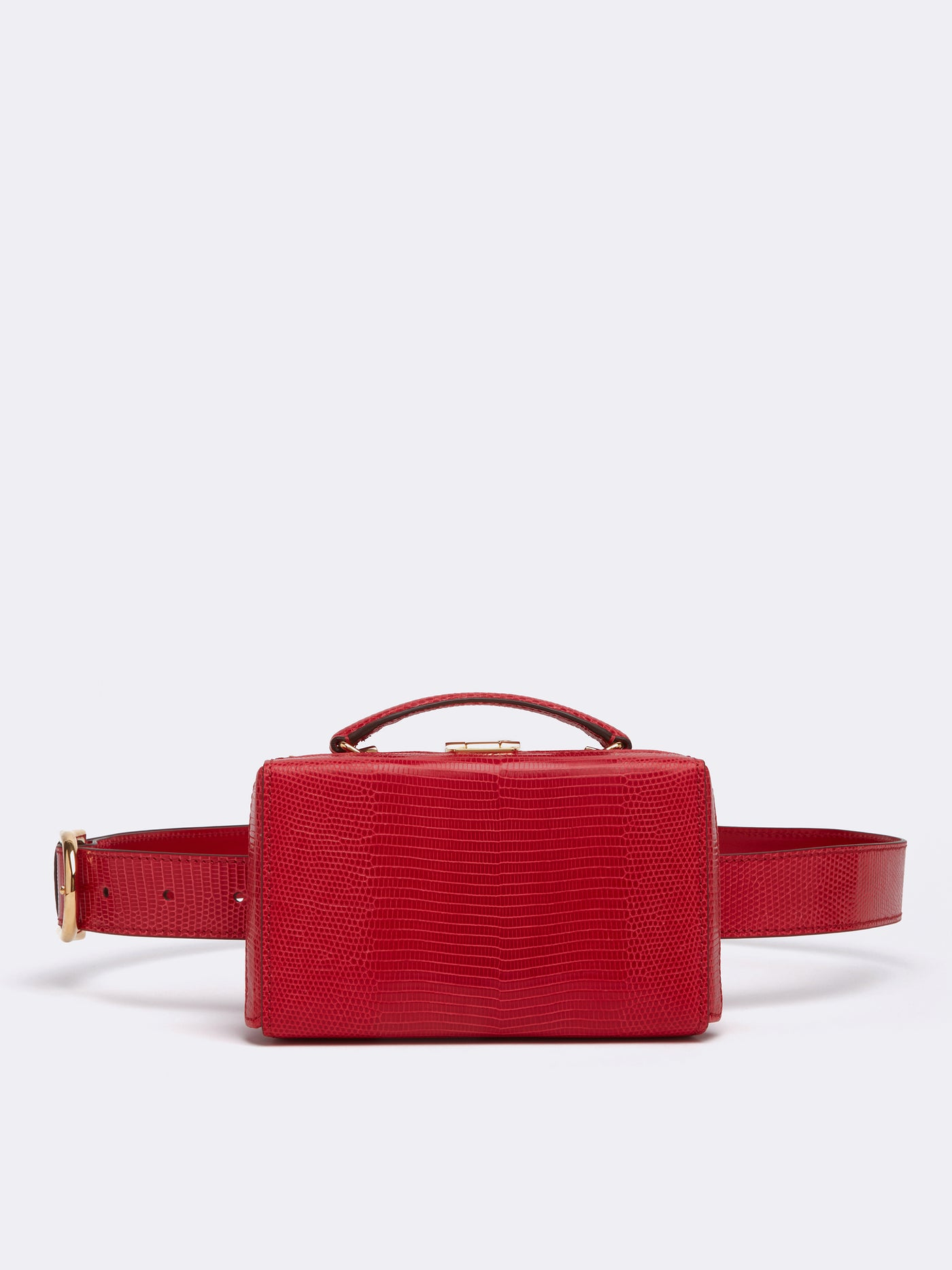 Mark Cross Grace Lizard Belt Bag Lizard Claret Front