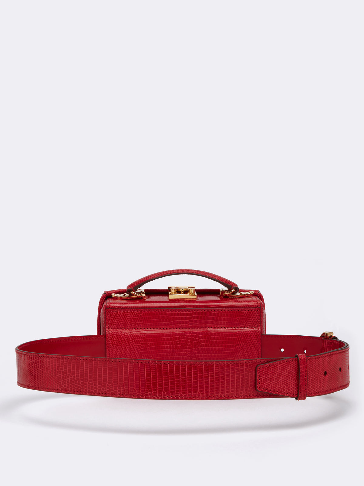 Mark Cross Grace Lizard Belt Bag Lizard Claret Back