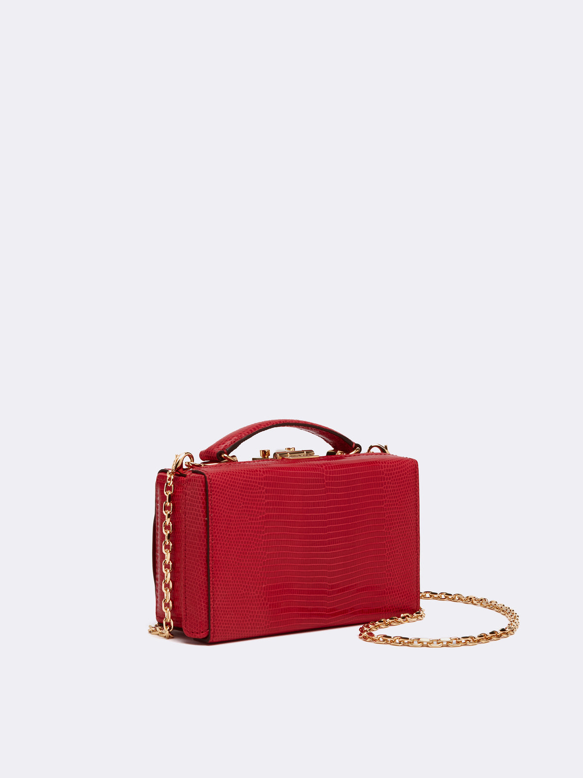 Mark Cross Grace Lizard Belt Bag Lizard Claret Side