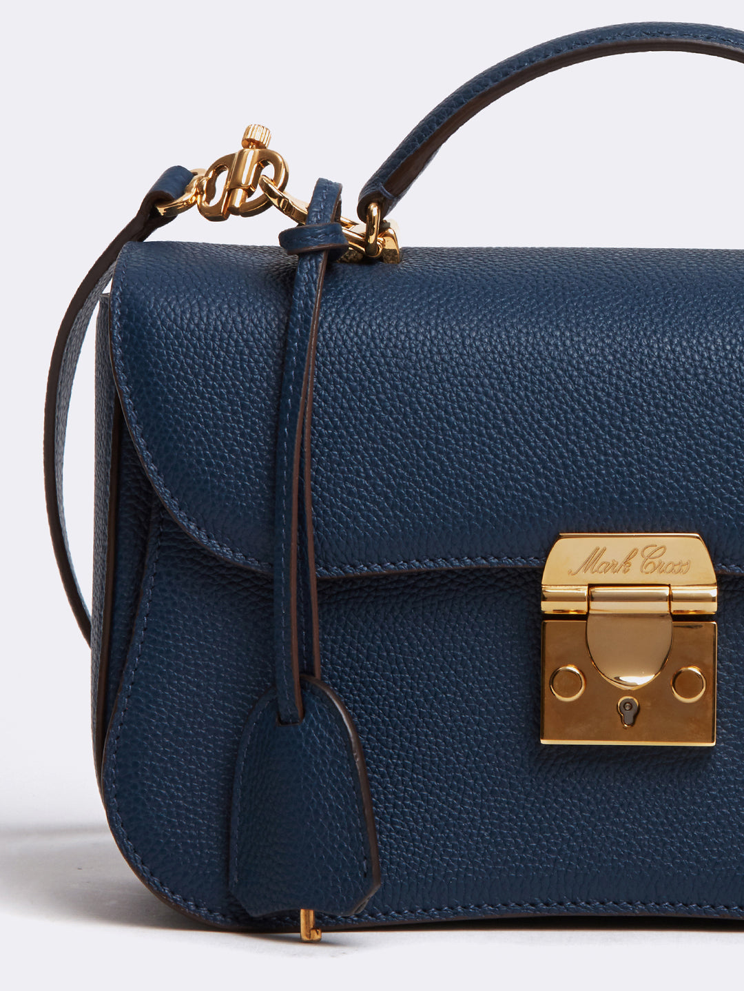Mark Cross Dorothy Leather Crossbody Bag Tumbled Grain Navy Detail