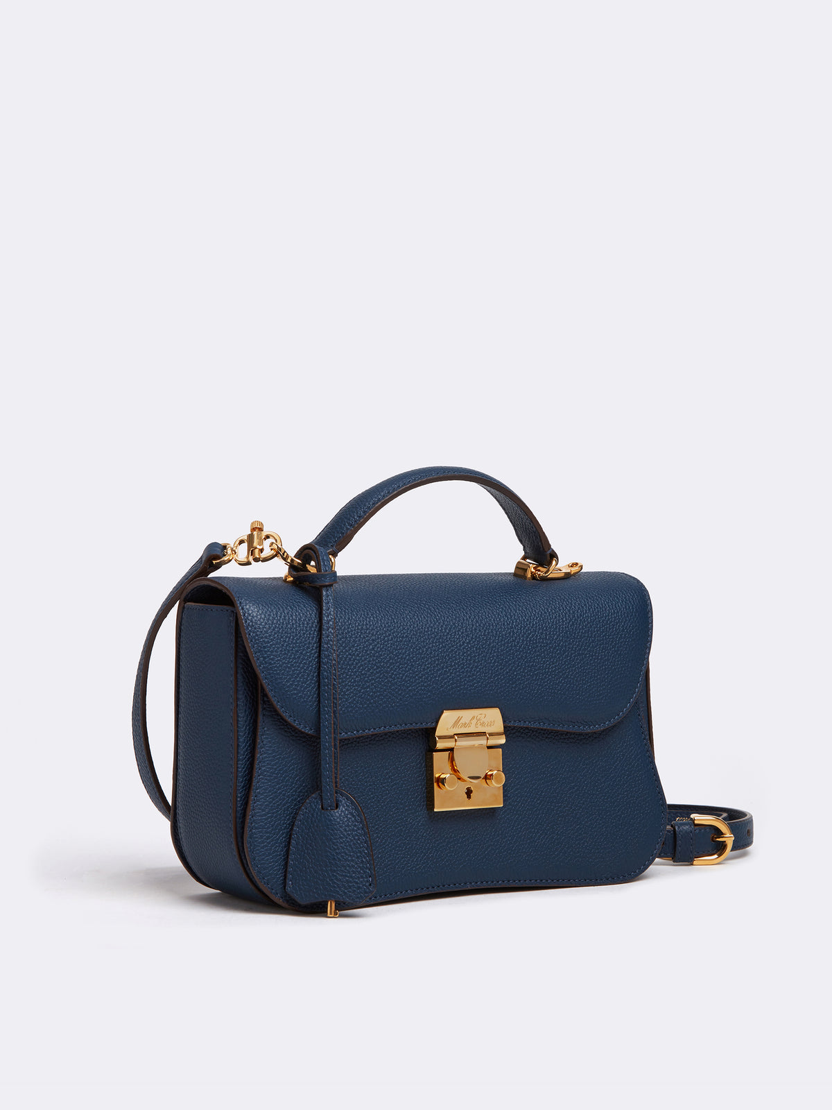 Mark Cross Dorothy Leather Crossbody Bag Tumbled Grain Navy Side